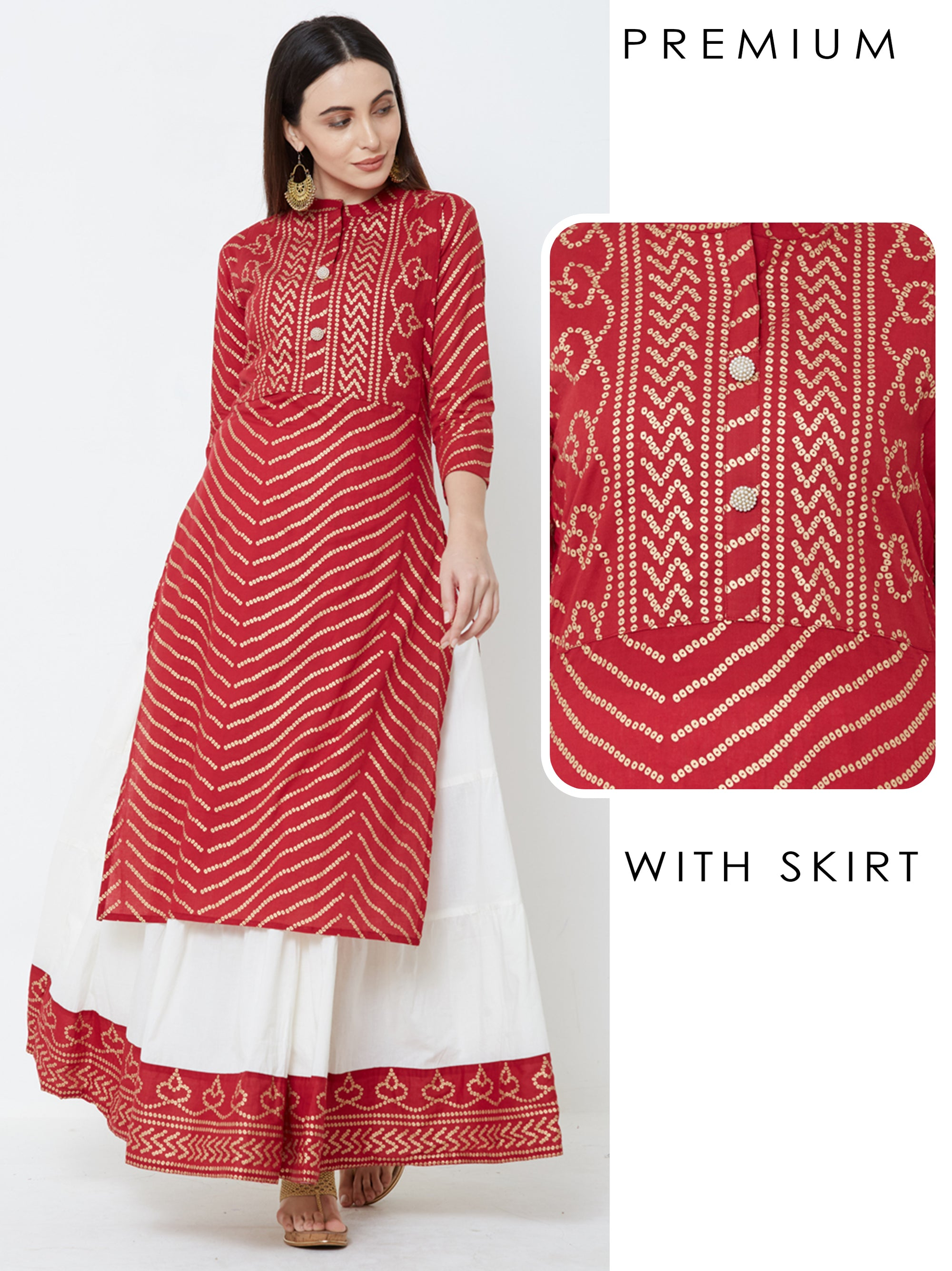 Foil Bandhani & Bead Embellished Kurta with Tiered Skirt – Red