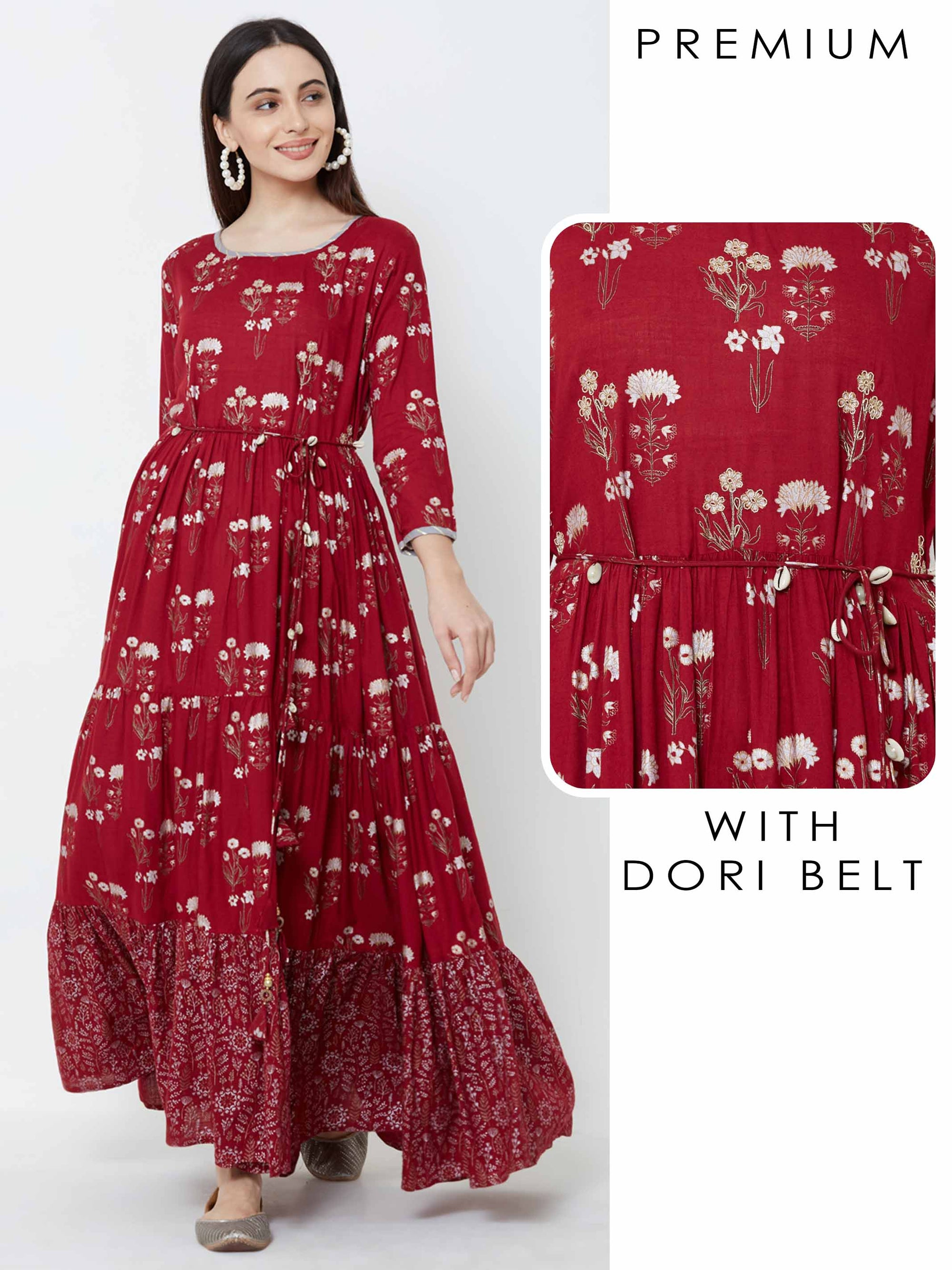 Zari Cord Embroidered Floral Maxi with Dori Belt – Maroon