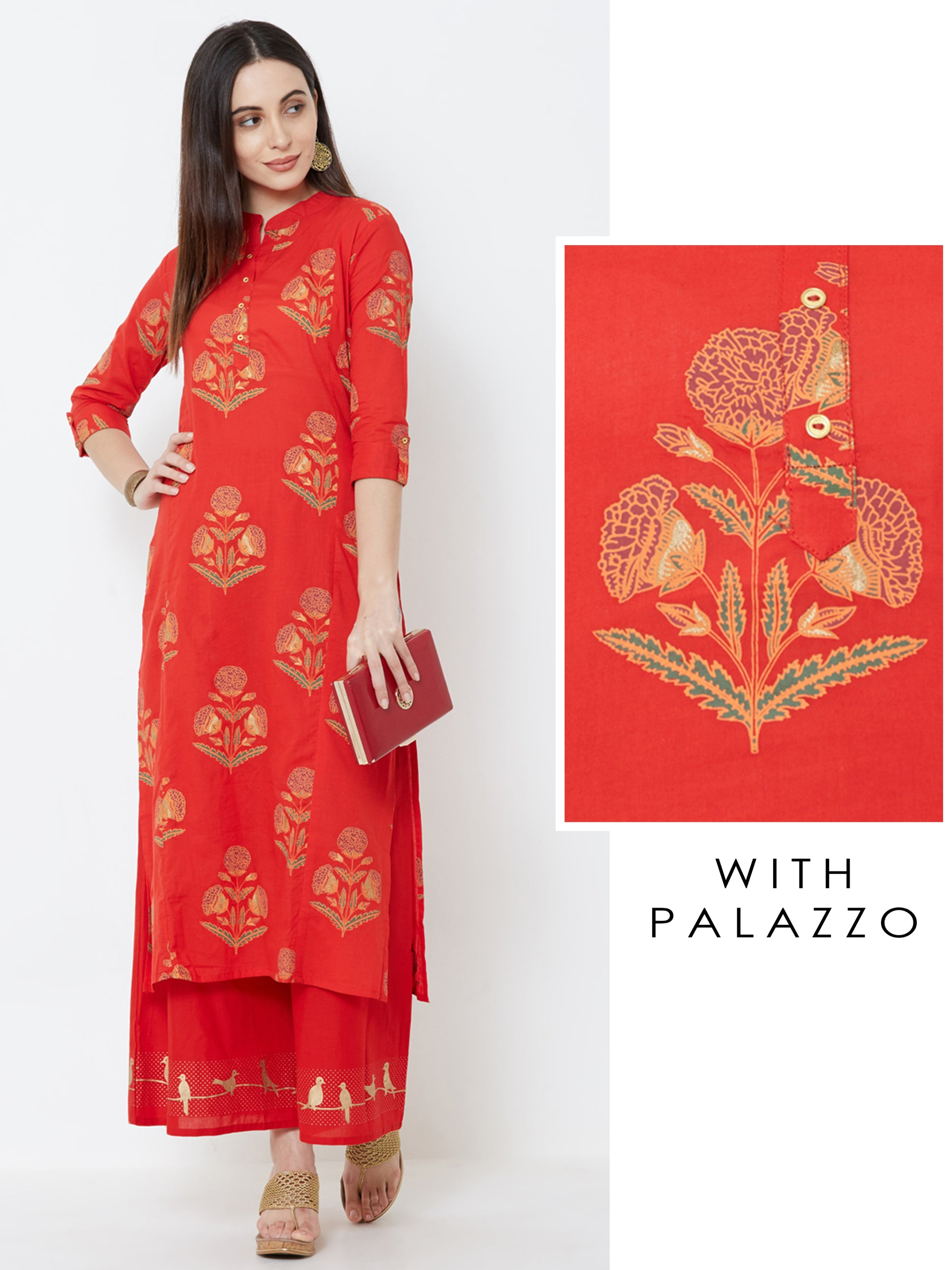 Floral Printed Kurta with Bird Printed Palazzo – Red
