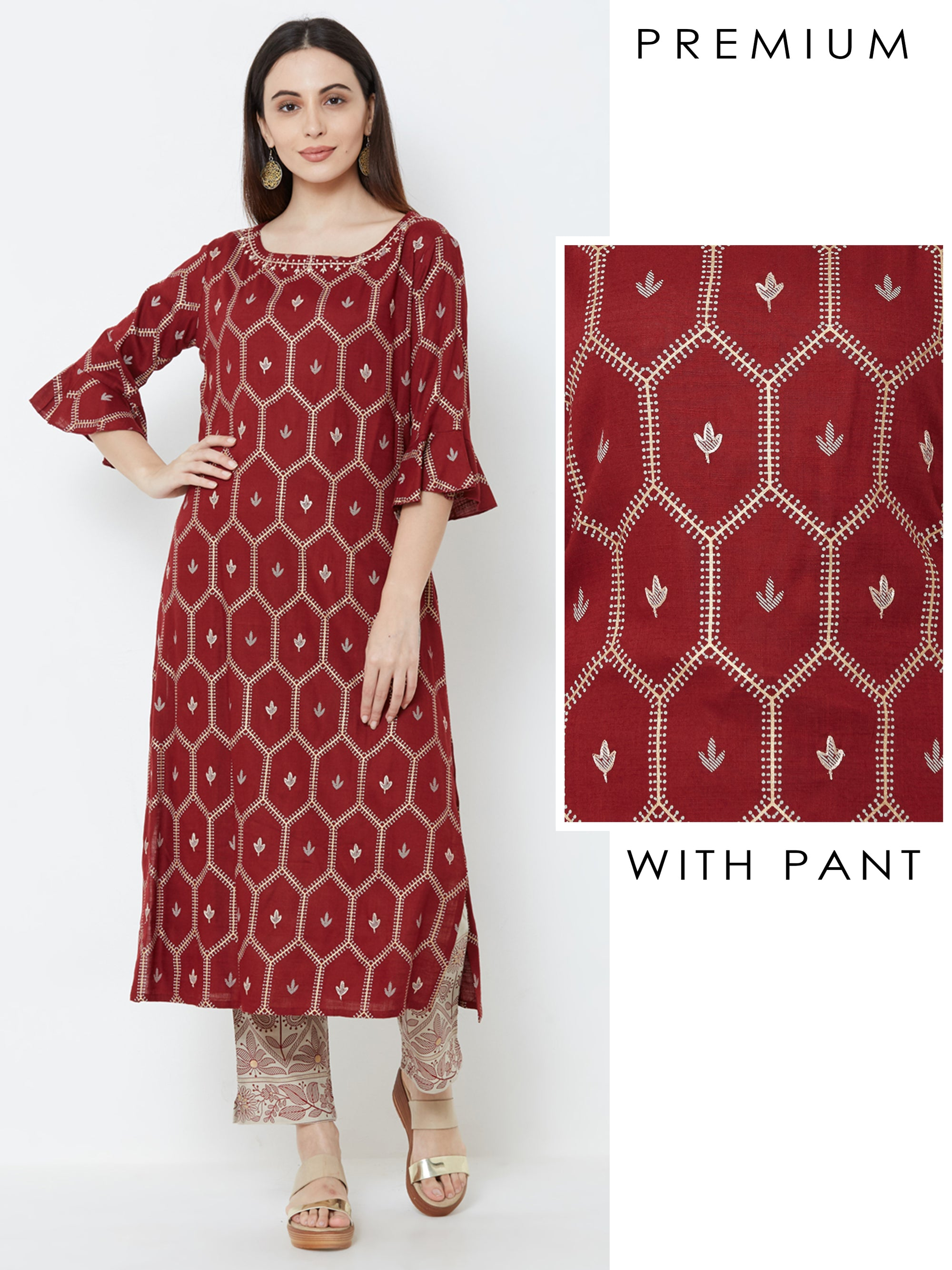 Minimal Floral Embroidered Kurta with Mango Printed Pant – Maroon