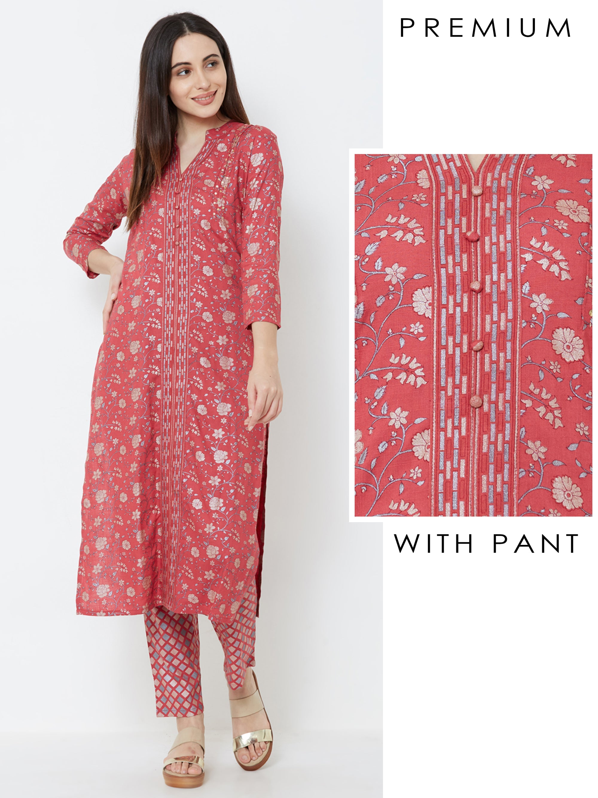 Floral Printed & Sequins Embellished Kurta with Foil Checkered Pant – Maroon