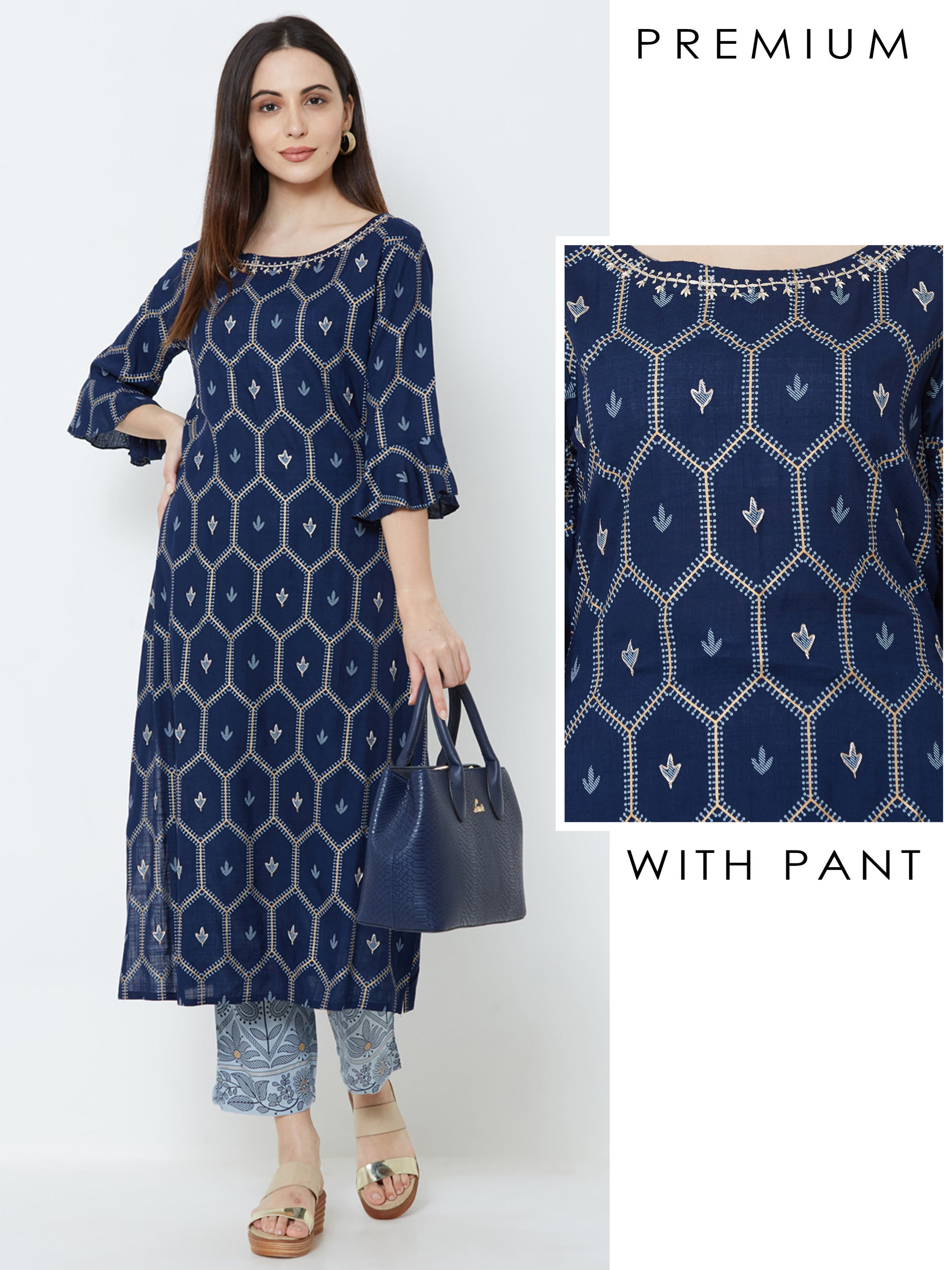 Minimal Floral Embroidered Kurta with Mango Printed Pant – Navy Blue
