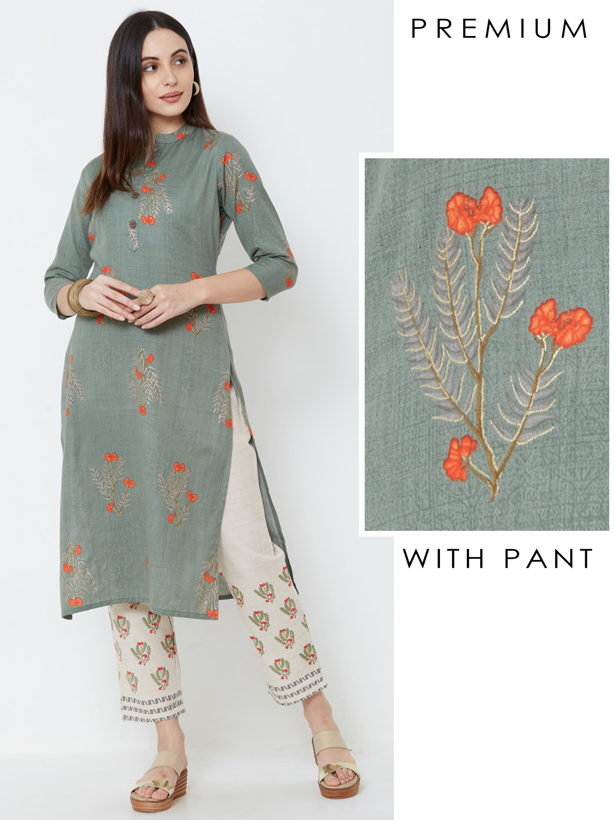 Floral Printed Kurta with Contrast Floral Pant – Green
