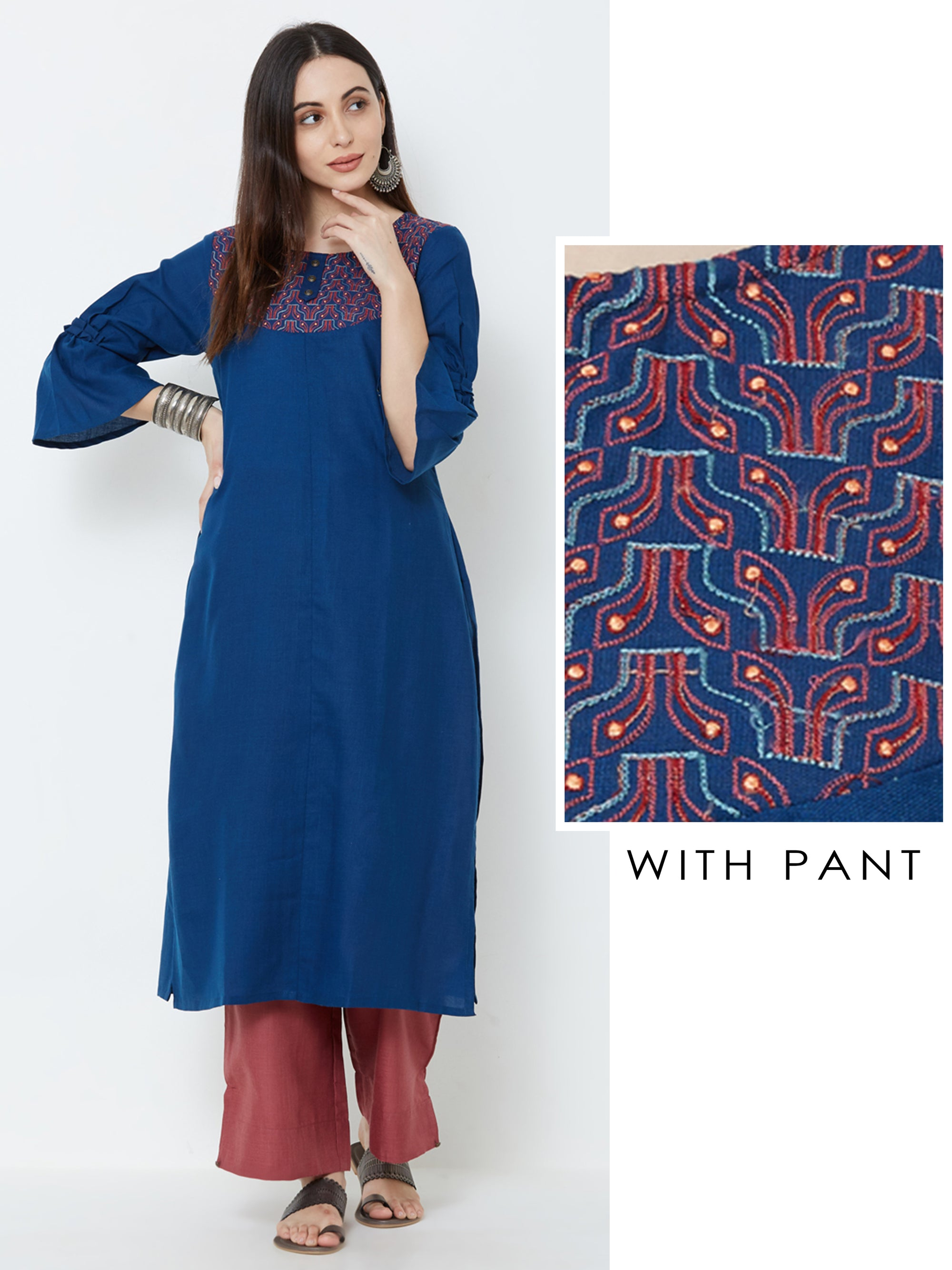 Sequins embroidered Kurta with Solid Pant – Teal Blue