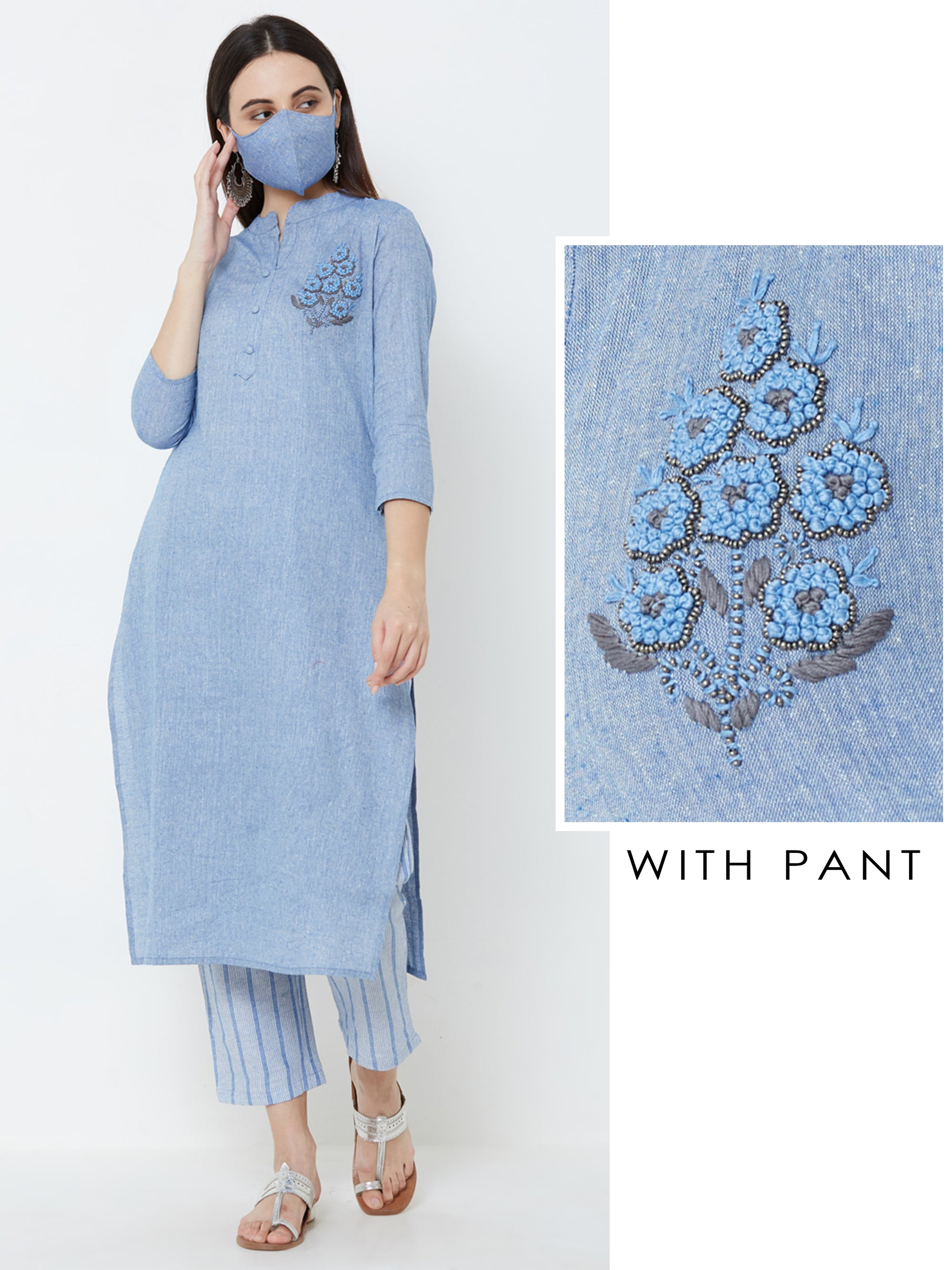 French Knot Floral Embroidered Kurta & Mask with Striped Pant – Denim Blue