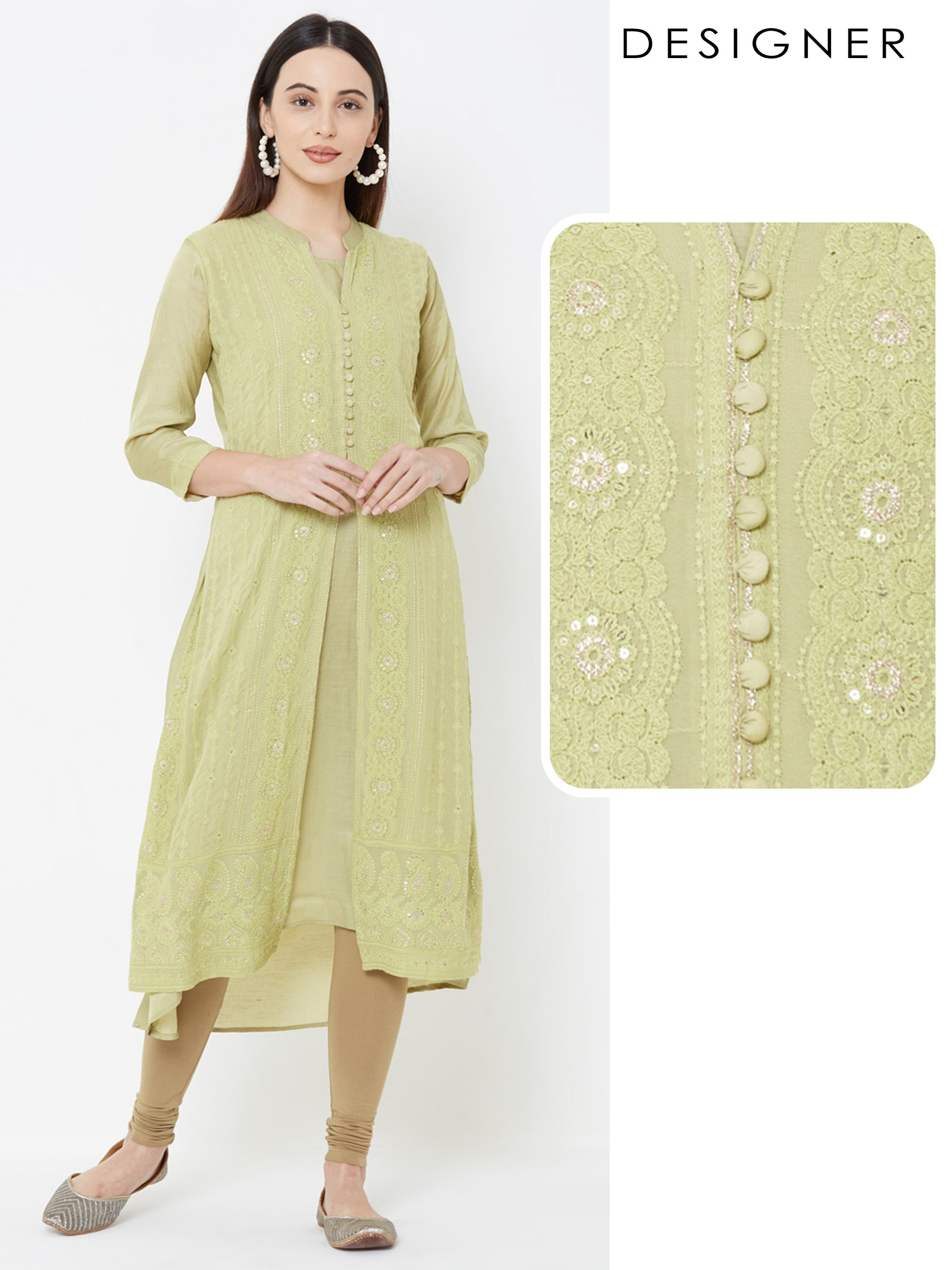 Floral embroidered & Zari Detailed Kurta – Lime Green