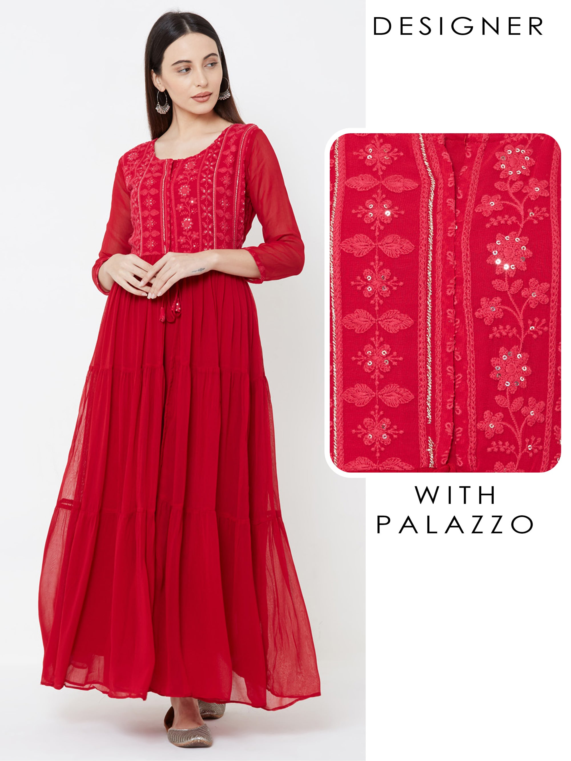 Floral embroidered Tiered Kurta with Solid Palazzo – Cherry Red