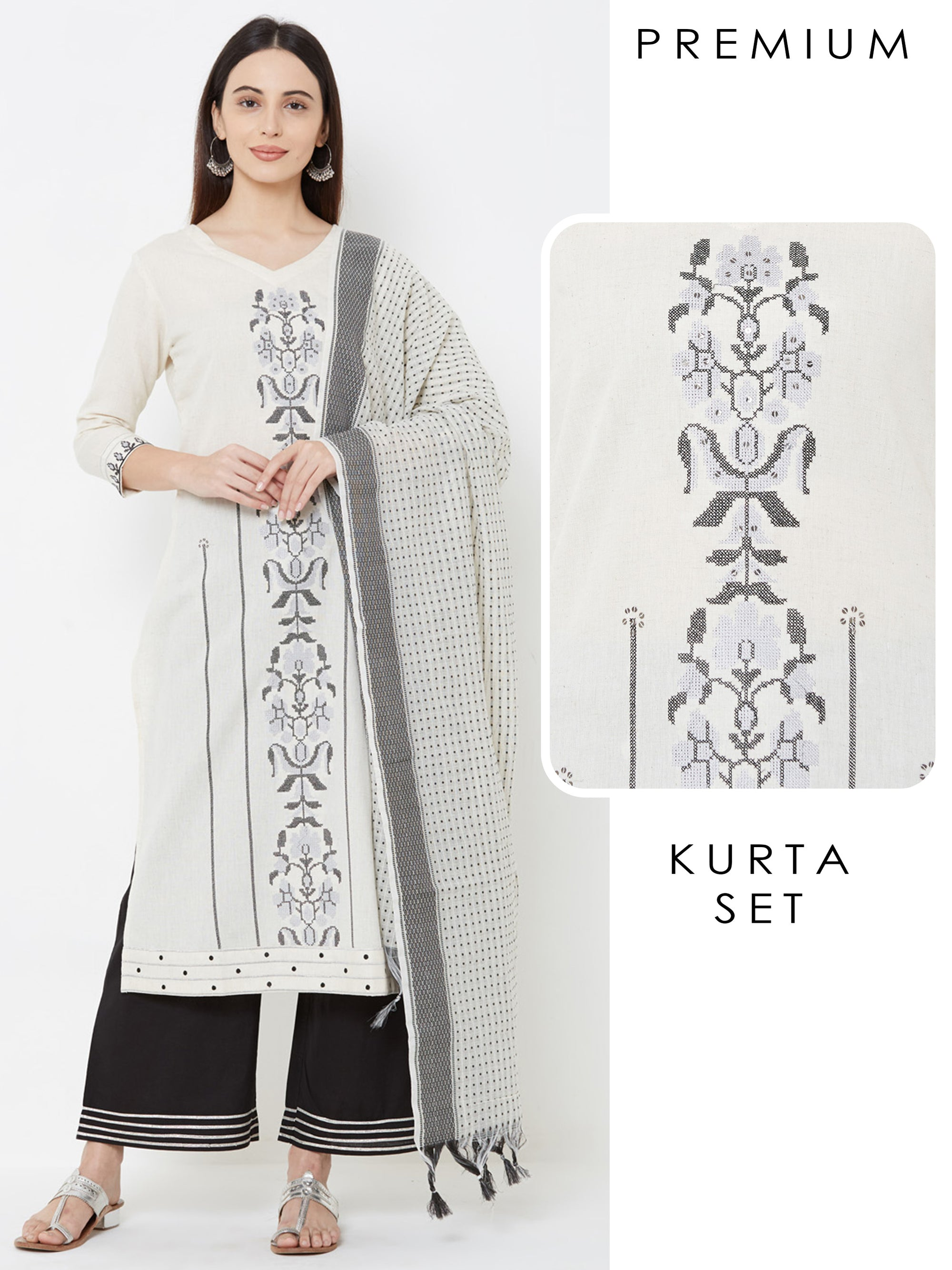 Cross stitch Embroidered Kurta with Gota Palazzo & Printed Dupatta – Off-White