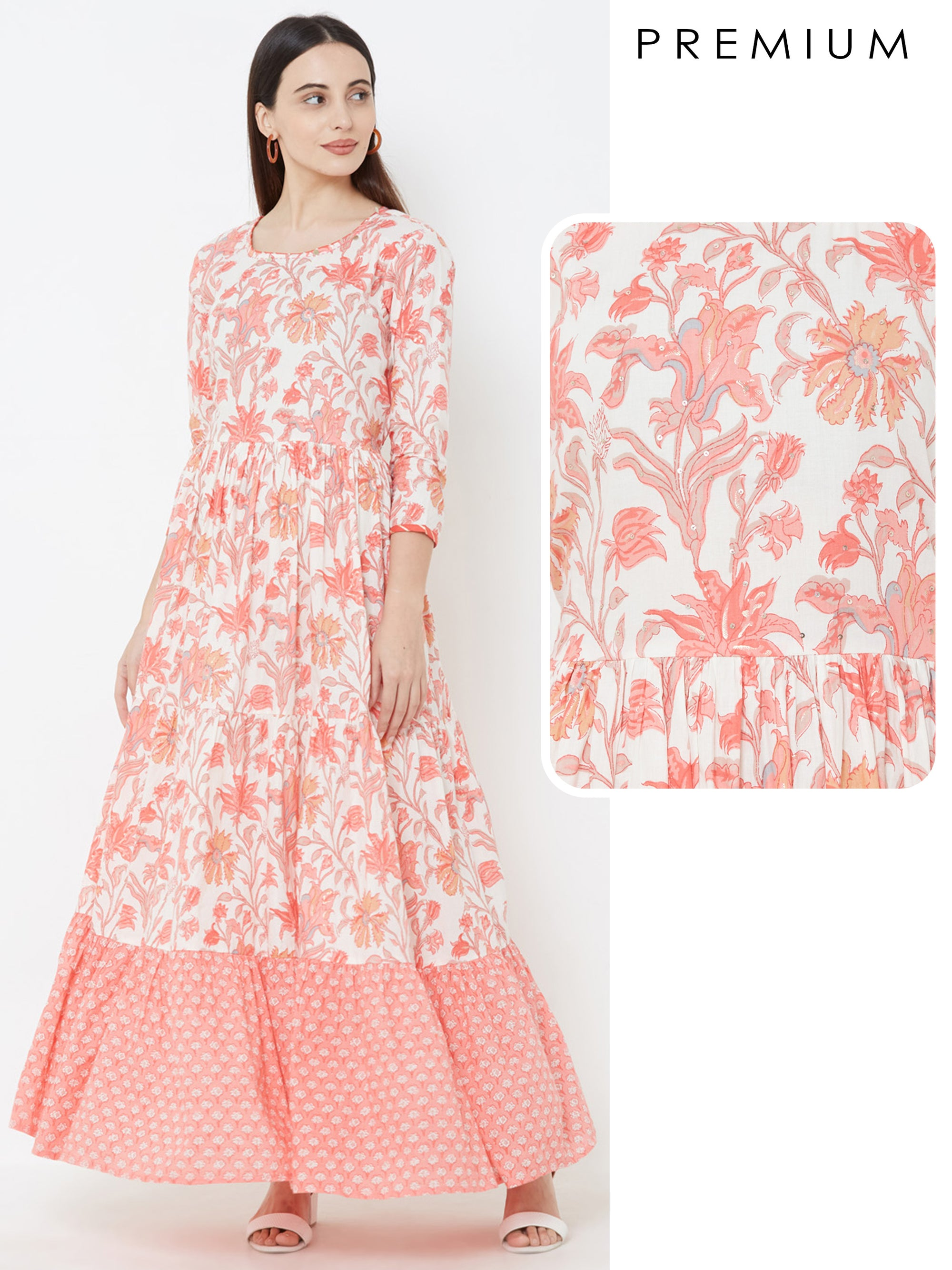 Floral Printed Pleated Maxi – Off-White