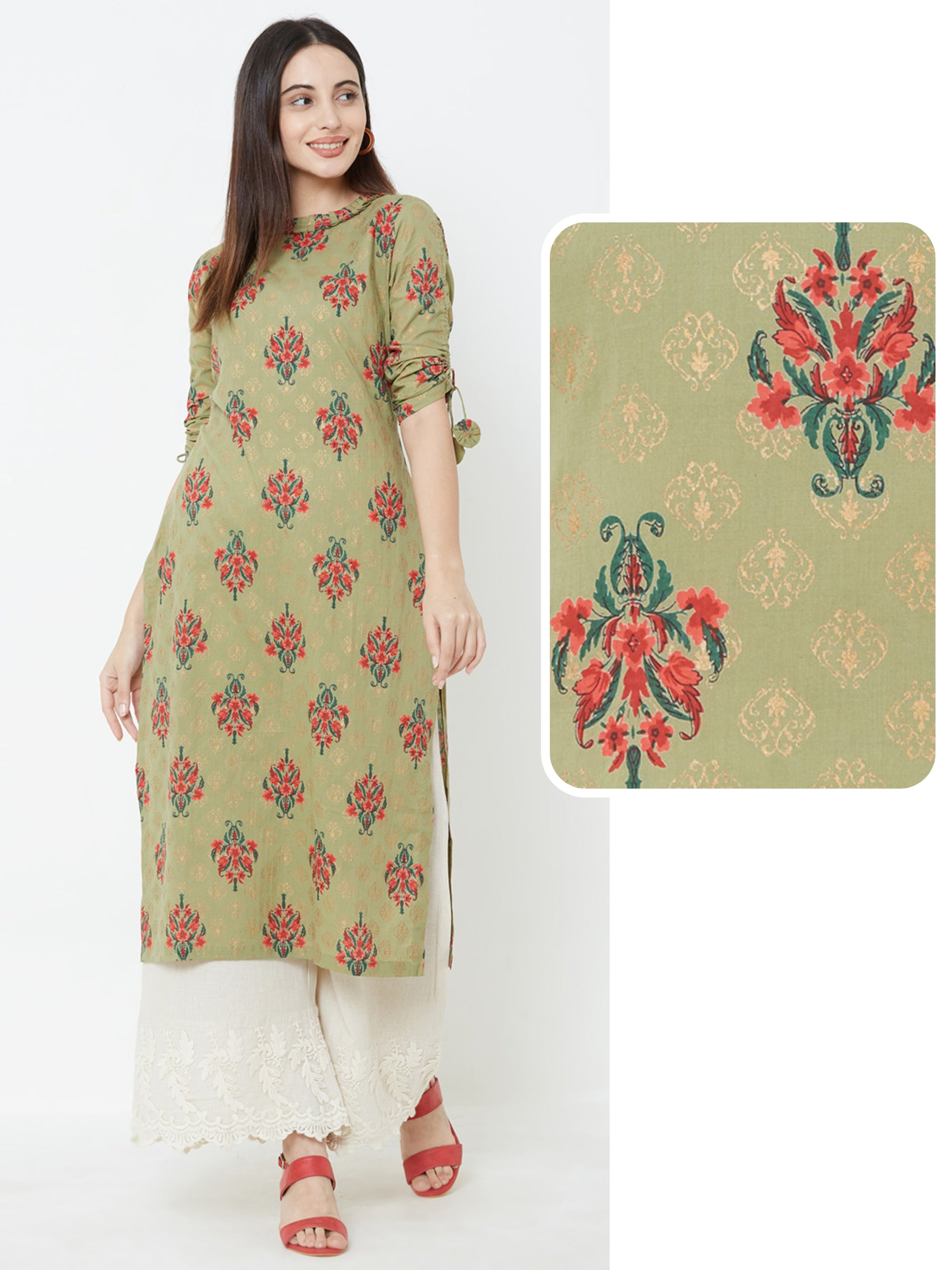 Floral printed Kurta with Tie-Up Sleeves – Olive green