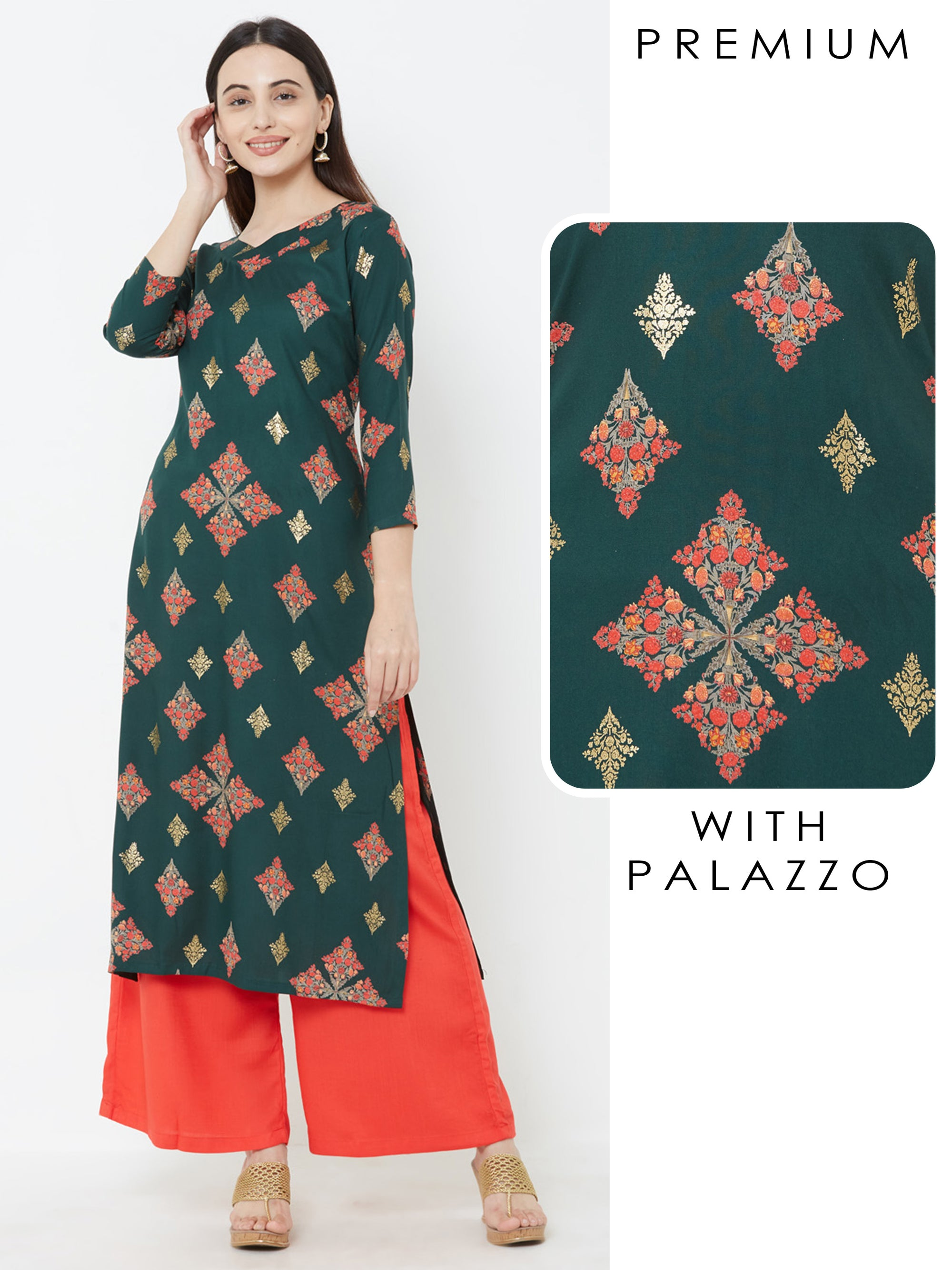Floral Foil Printed Kurta with Solid Palazzo – Teal Green