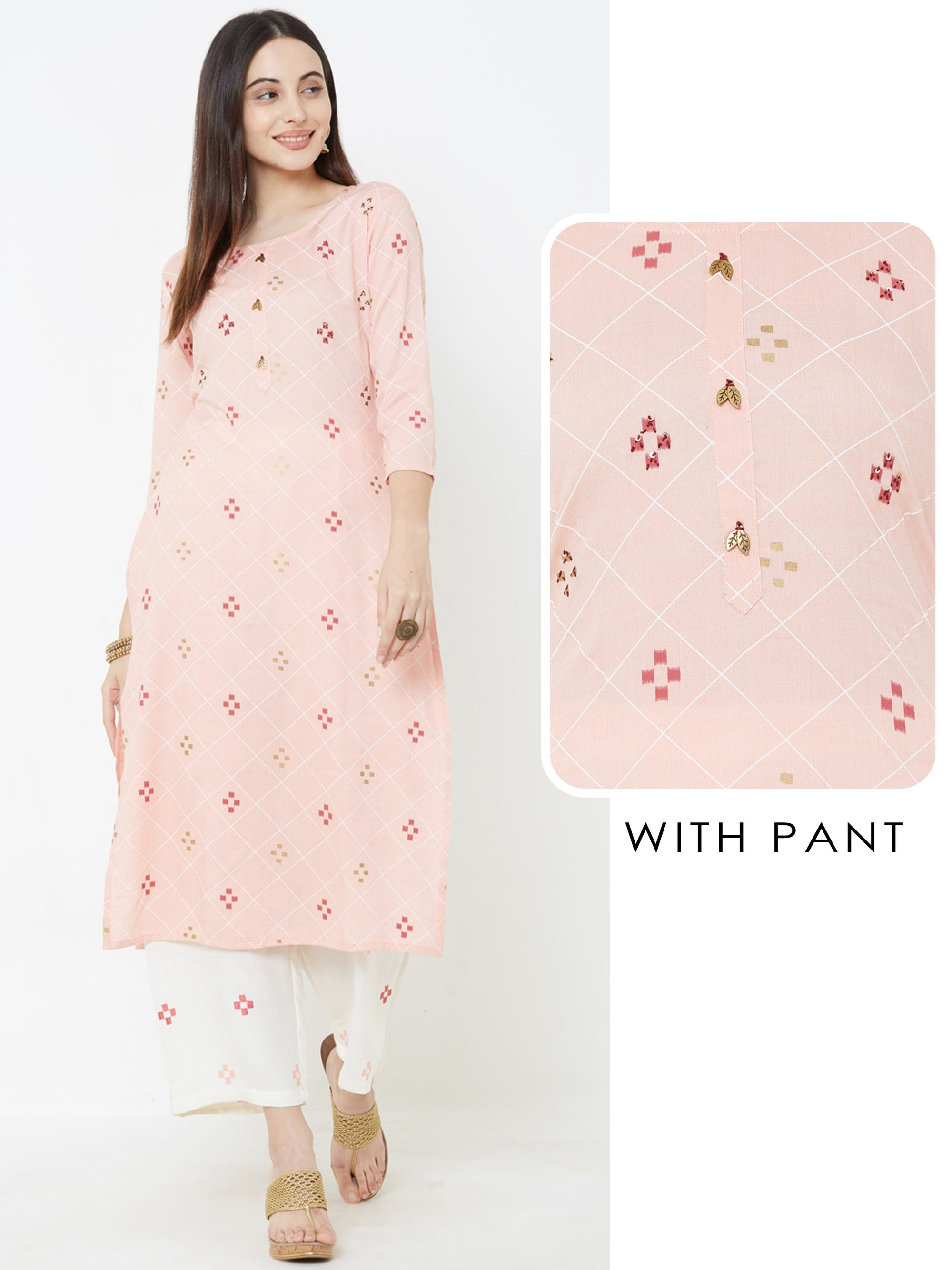 Diamond Checkered Kurta with Minimal Embroidered Pant – Pink