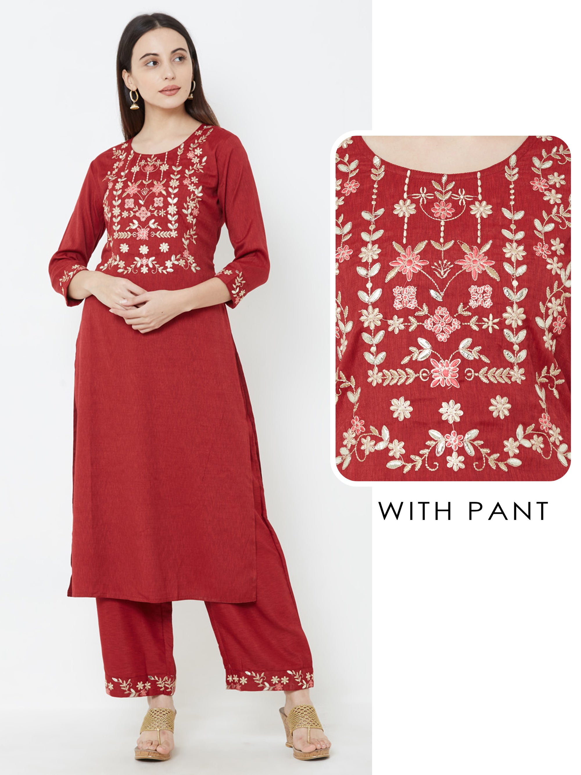 Floral Embroidered Kurta with Solid Pant – Red