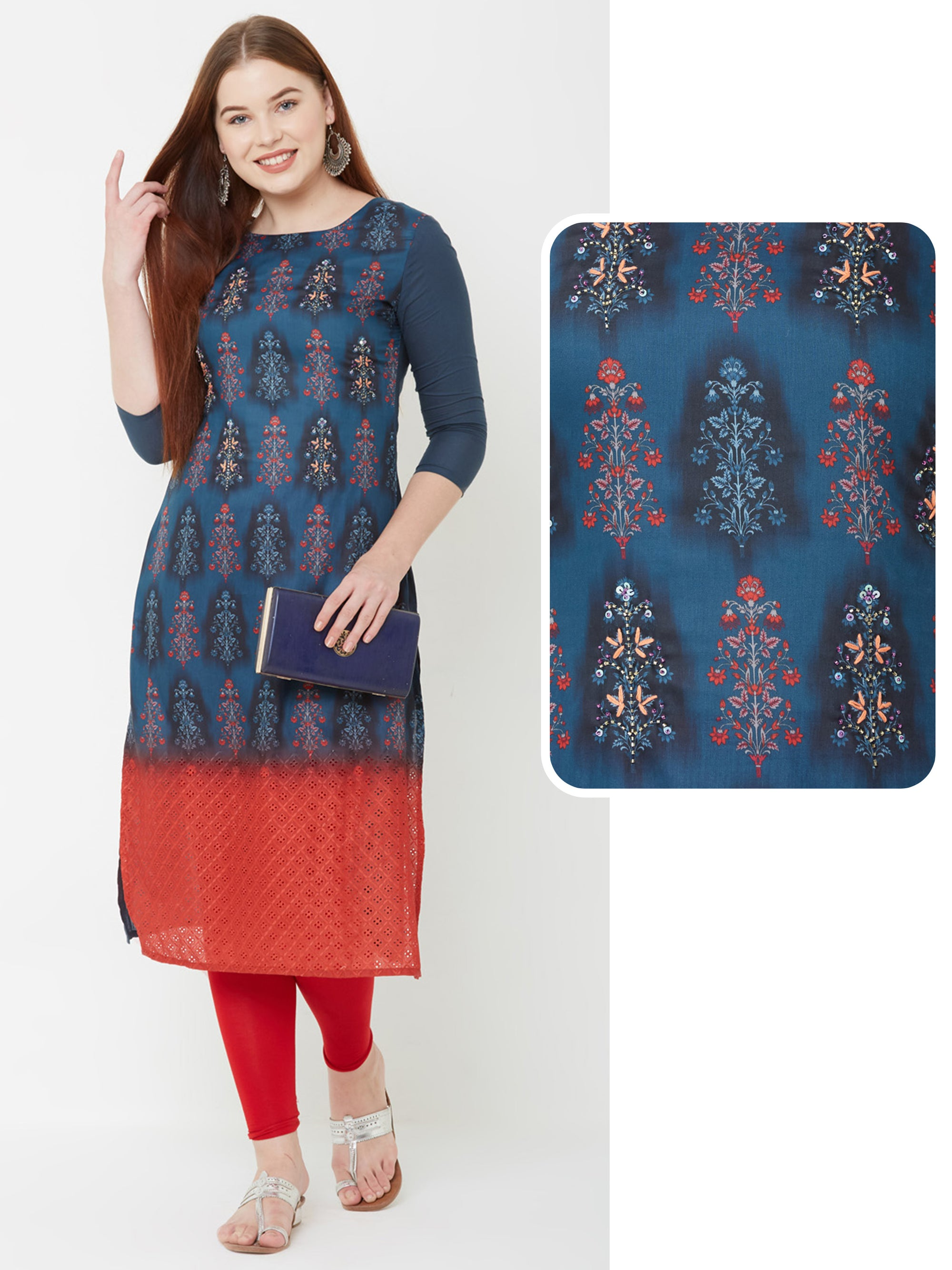 Cutdana & Sequins Embroidered Ombre Kurta – Navy Blue