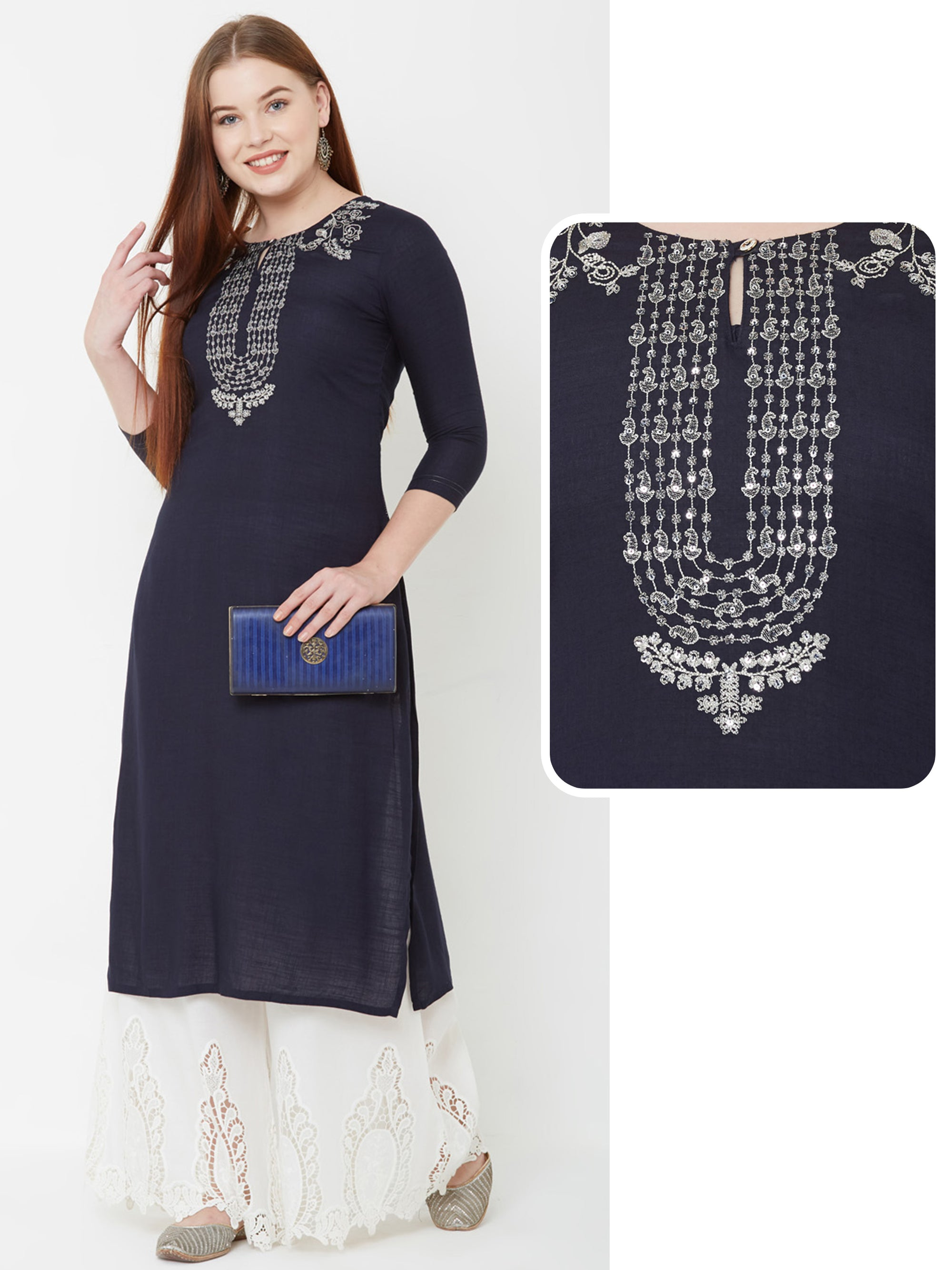 Ethnic Cord Embroidered Kurta – Navy Blue