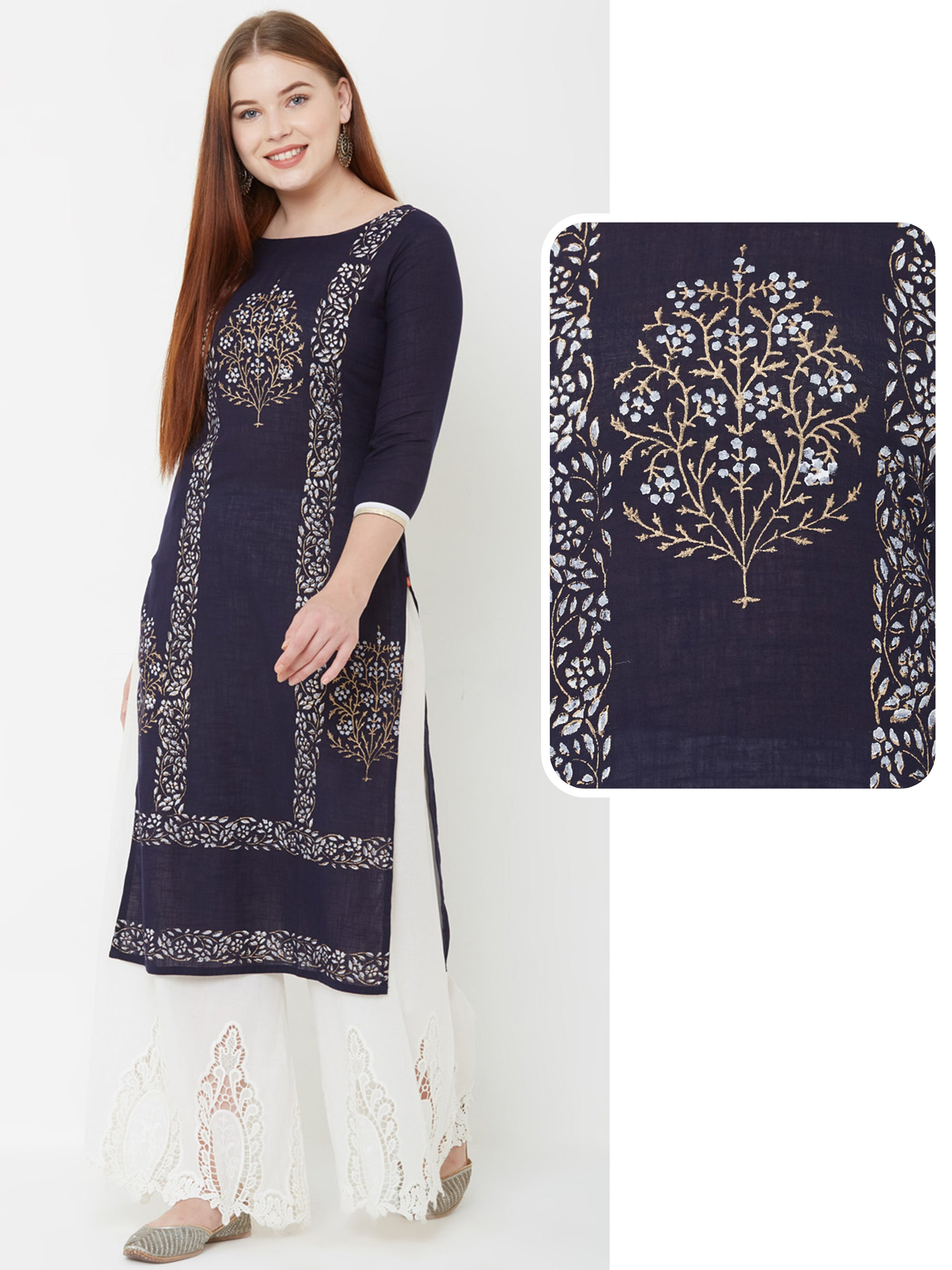 Floral Block Printed Kurta – Navy Blue