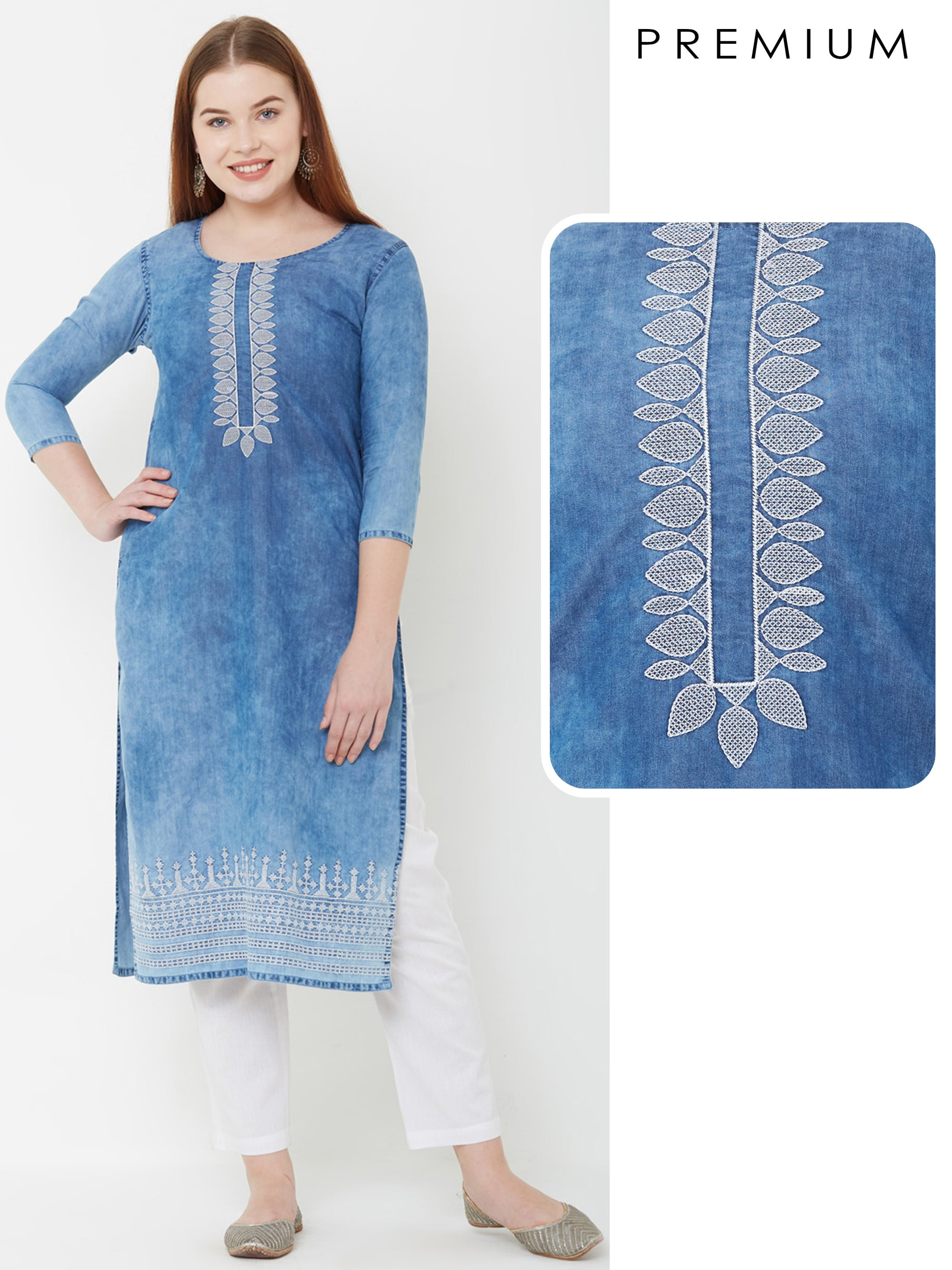 Elegant Embroidered Denim Kurta – Denim Blue