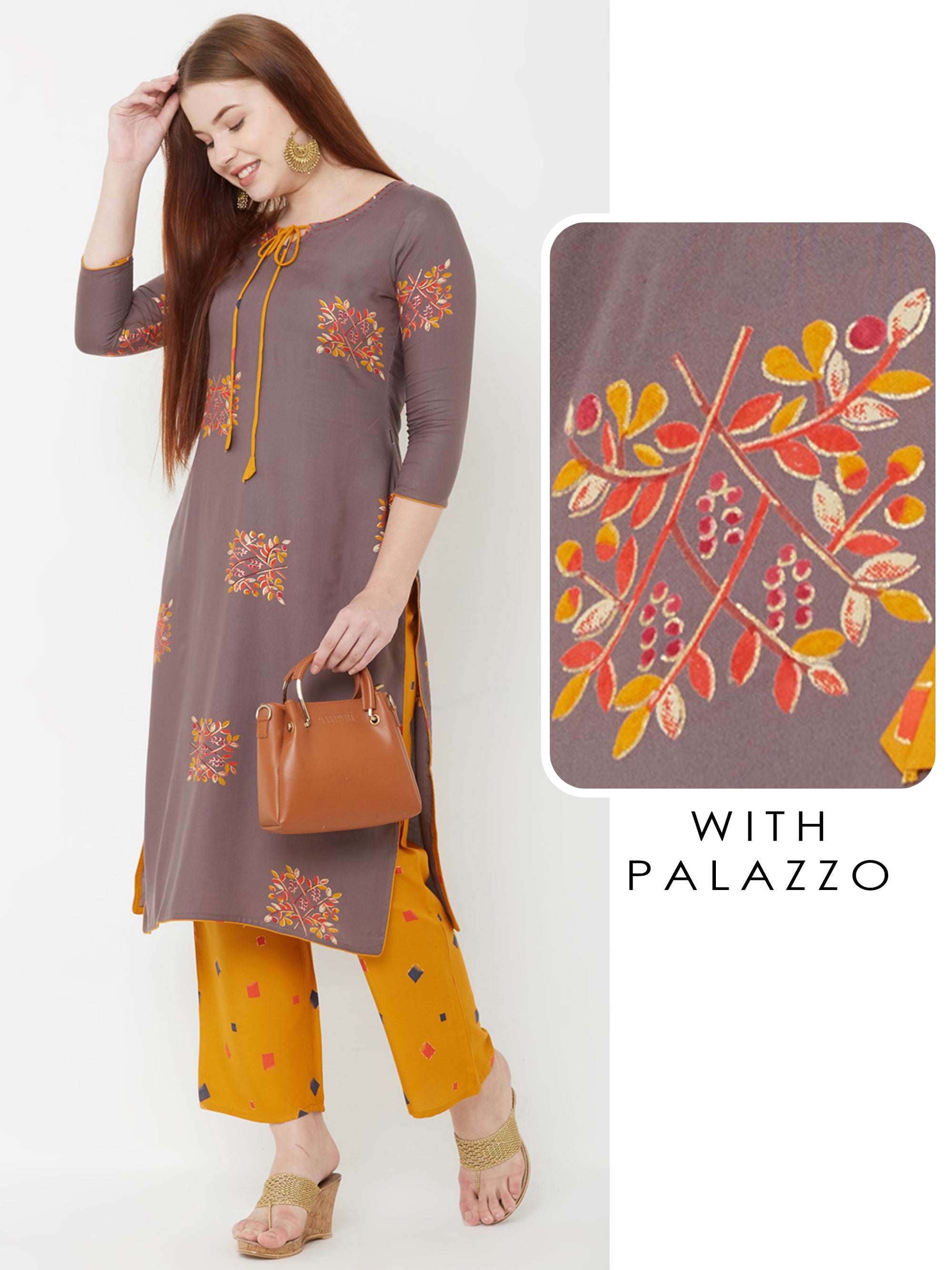 Floral Printed Kurta with Checkered Palazzo – Grey