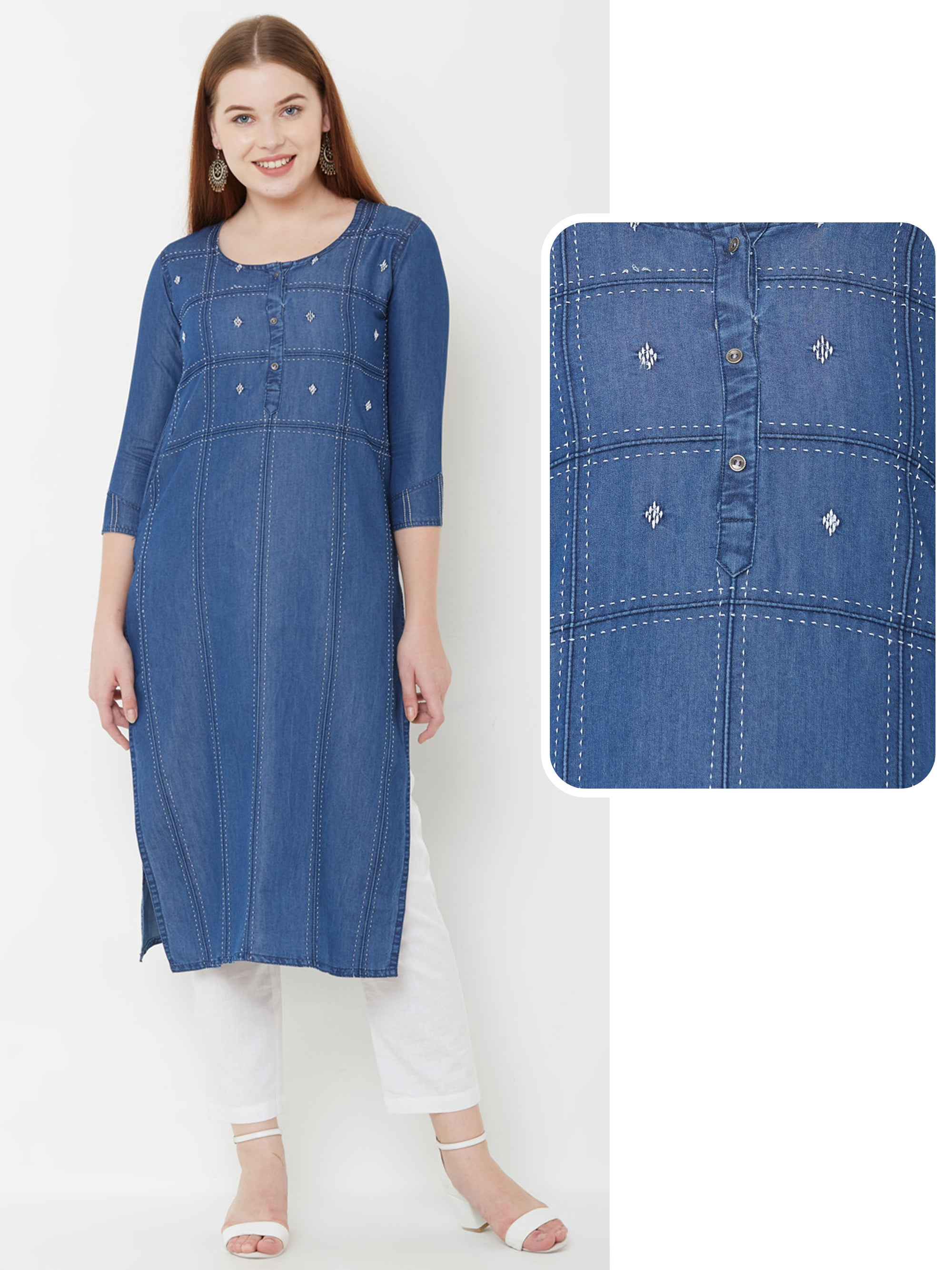 Buta Embroidered & Pin Tucked Denim Kurta – Denim Blue
