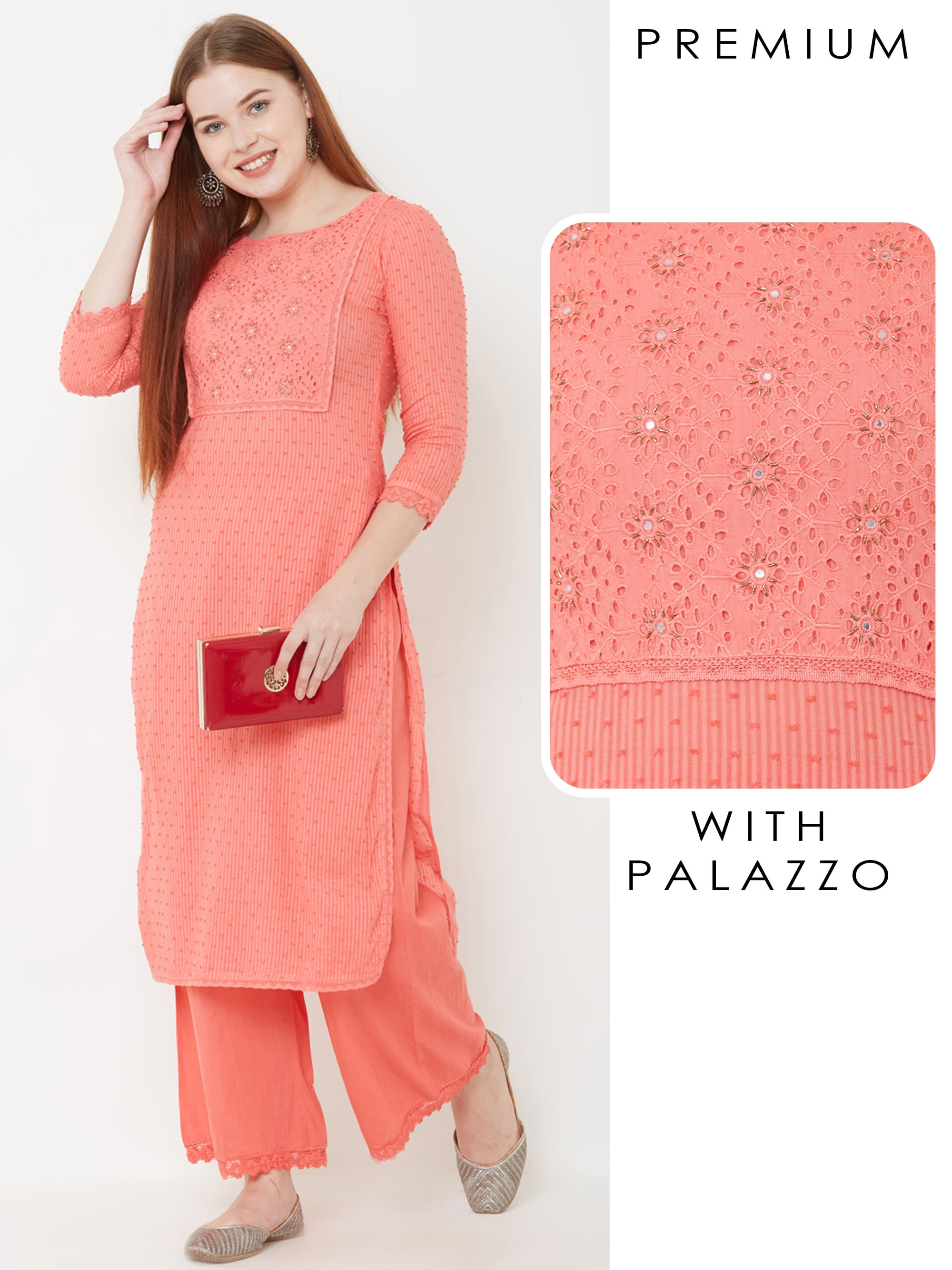 Schiffli Embroidered Cutdana Kurta with Palazzo – Peach