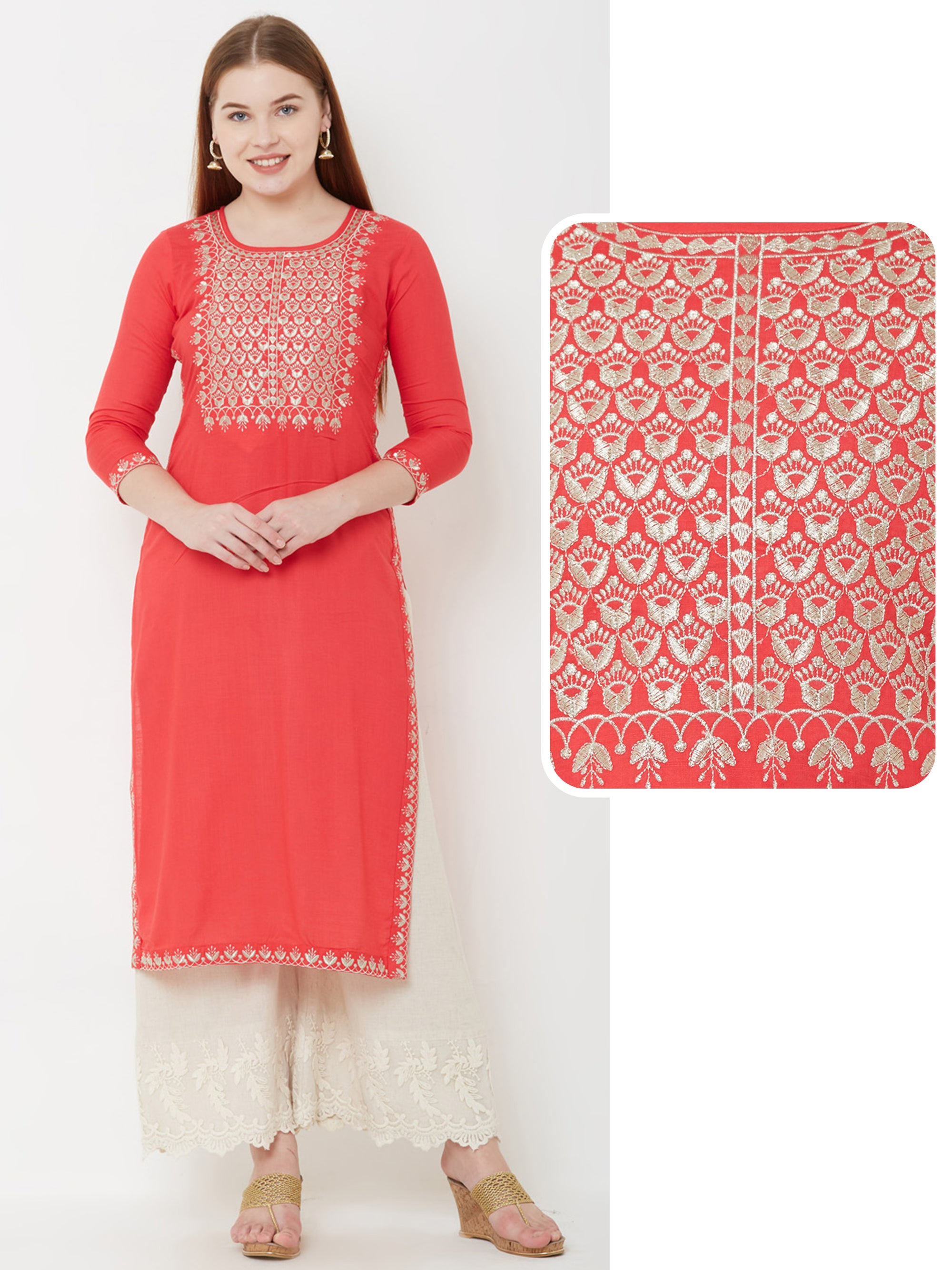 Intense Floral Embroidered Kurta – Red