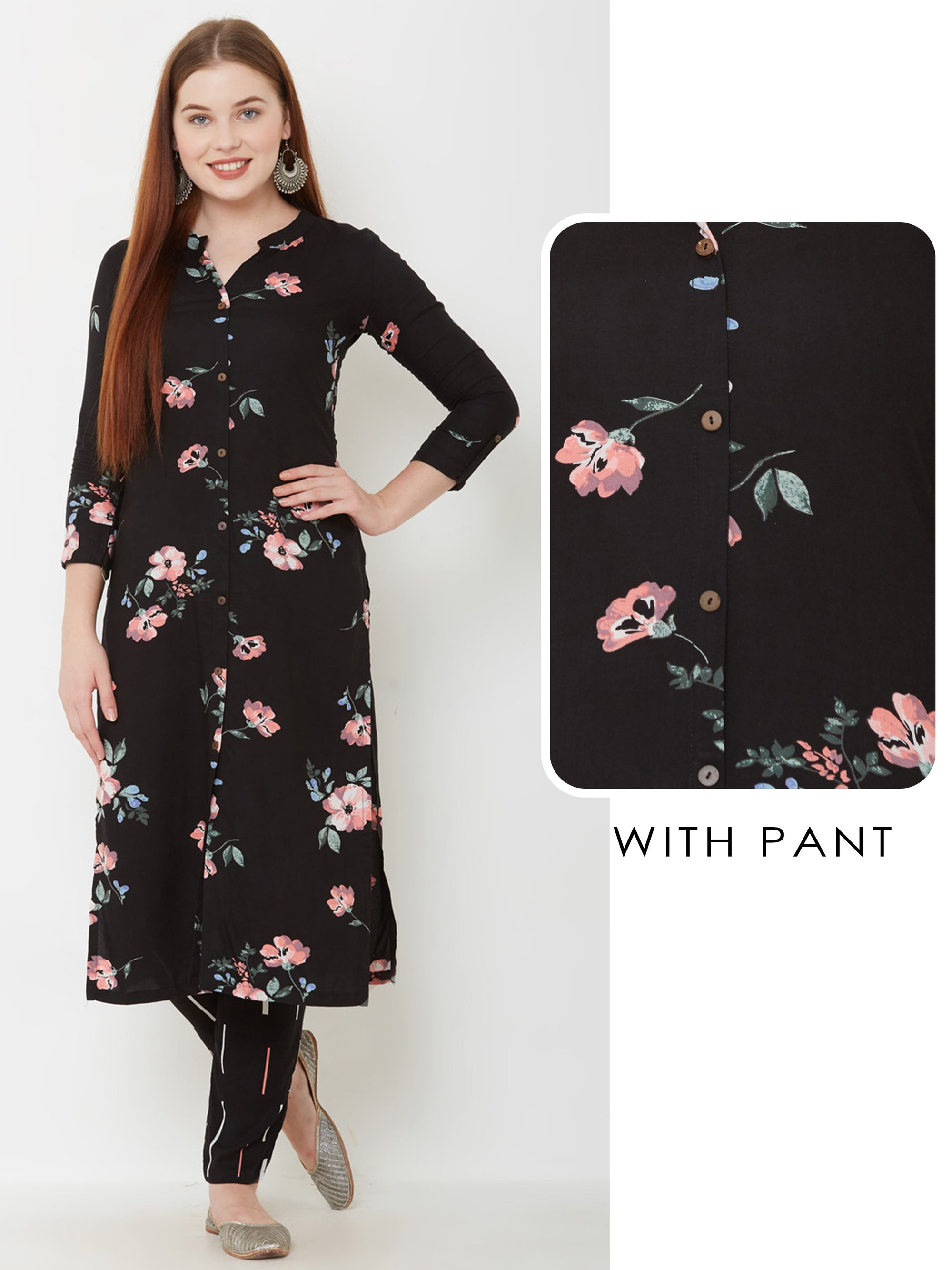 Floral Printed Kurta & Fallen Striped Pant – Black