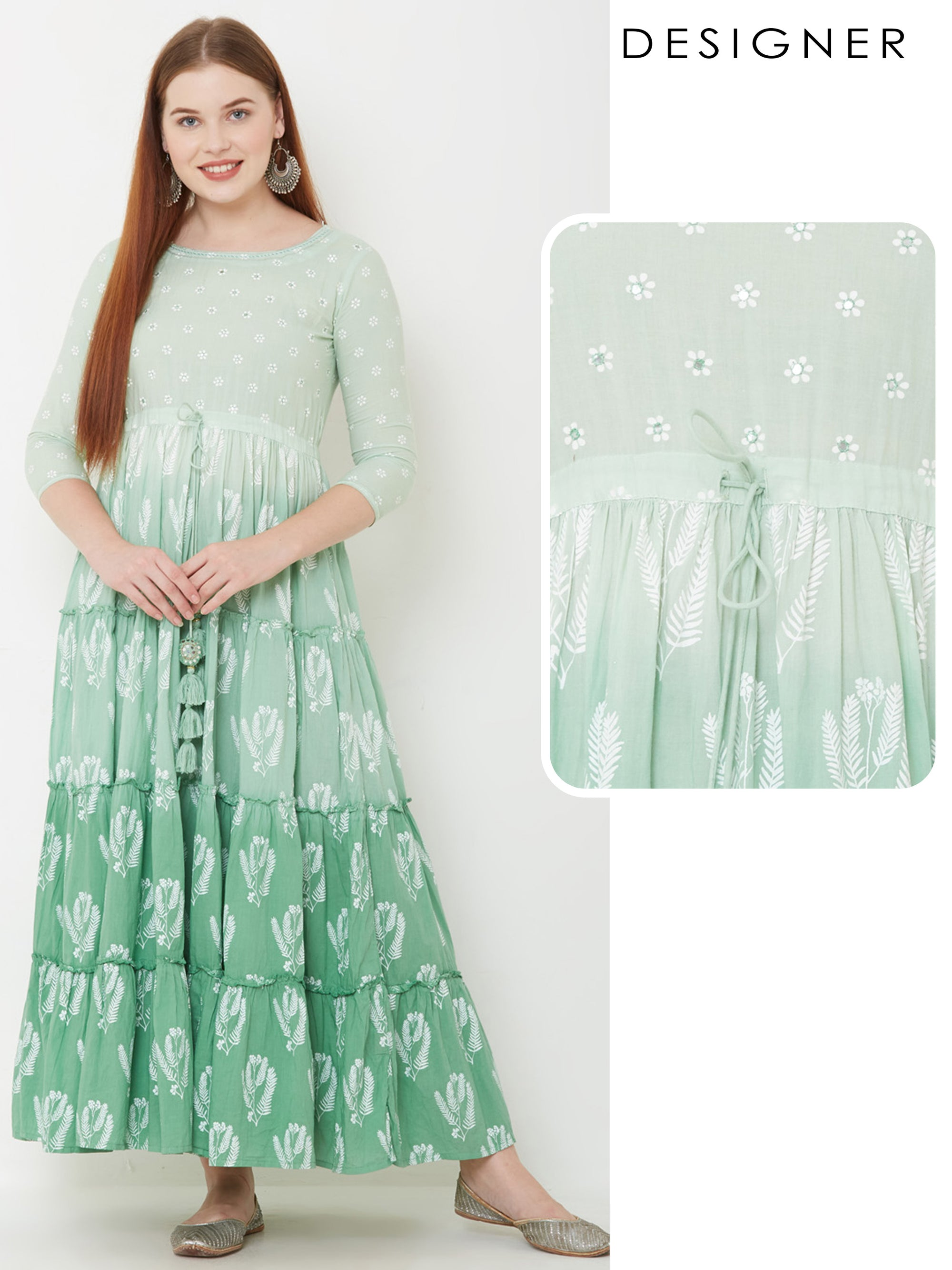 Floral & Leaf Printed Tiered Maxi – Pista Green