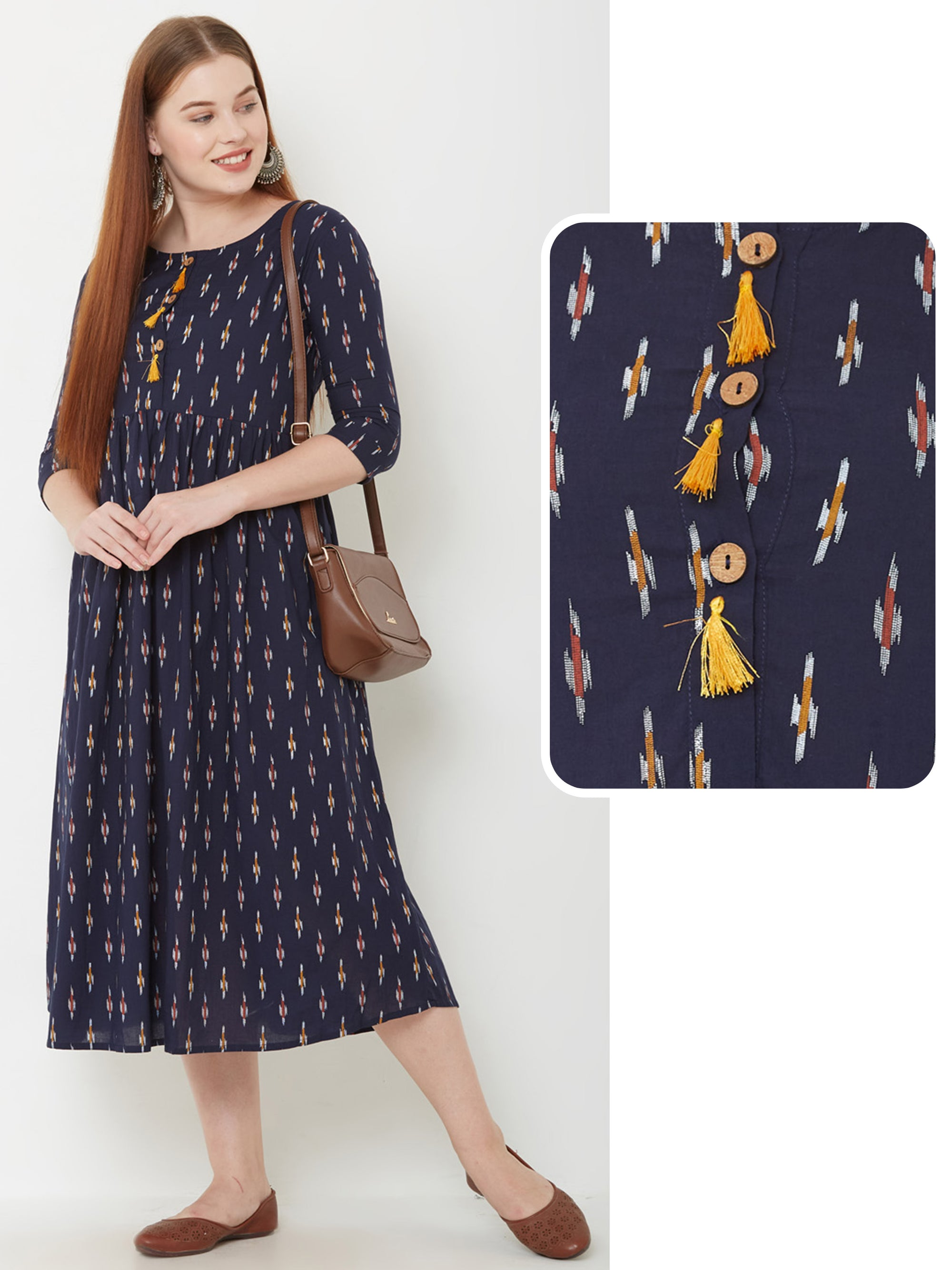 Ikkat Printed & Pleated Maxi – Navy Blue