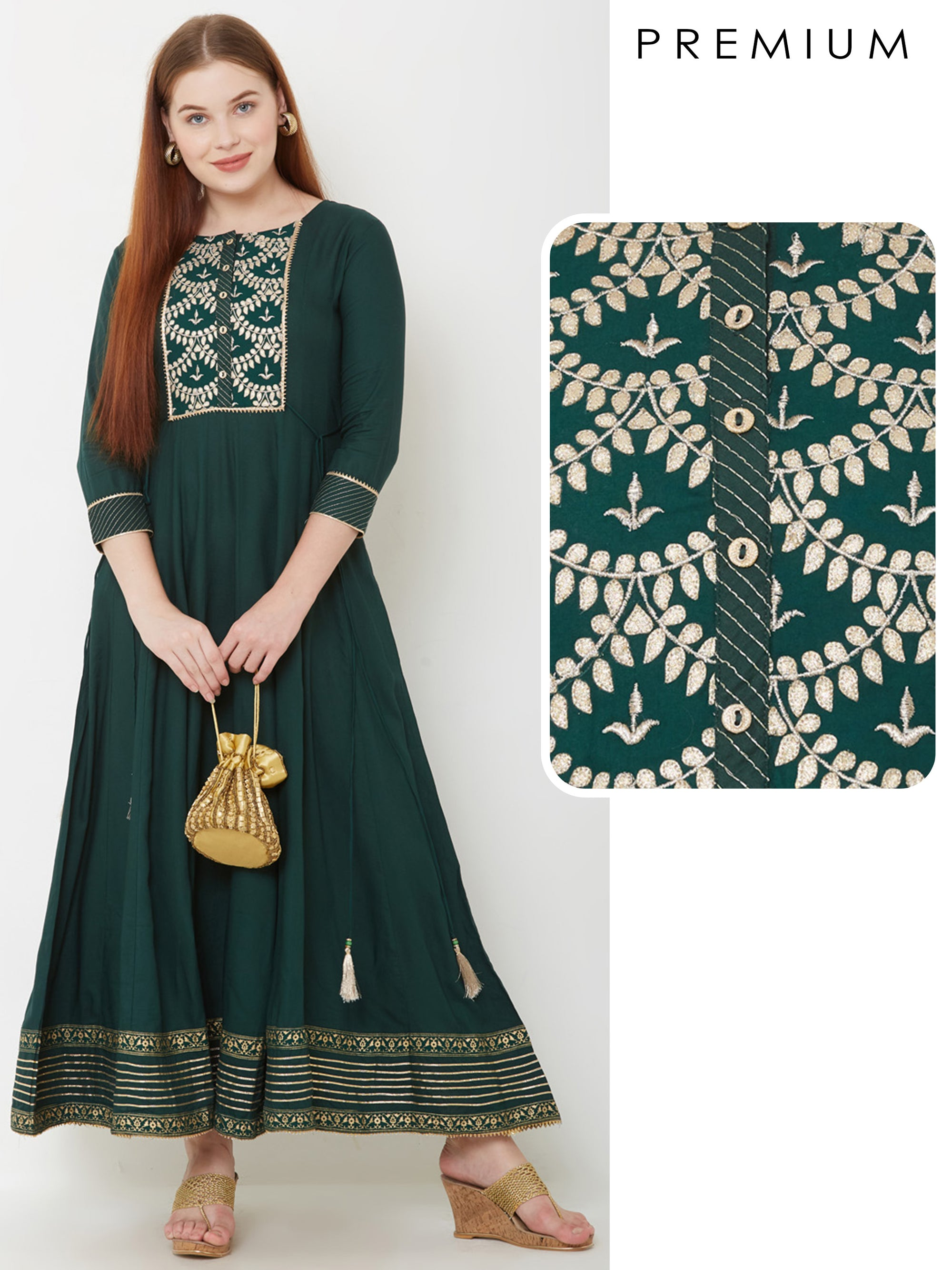 Intense Gota Embellished Panelled Maxi – Green