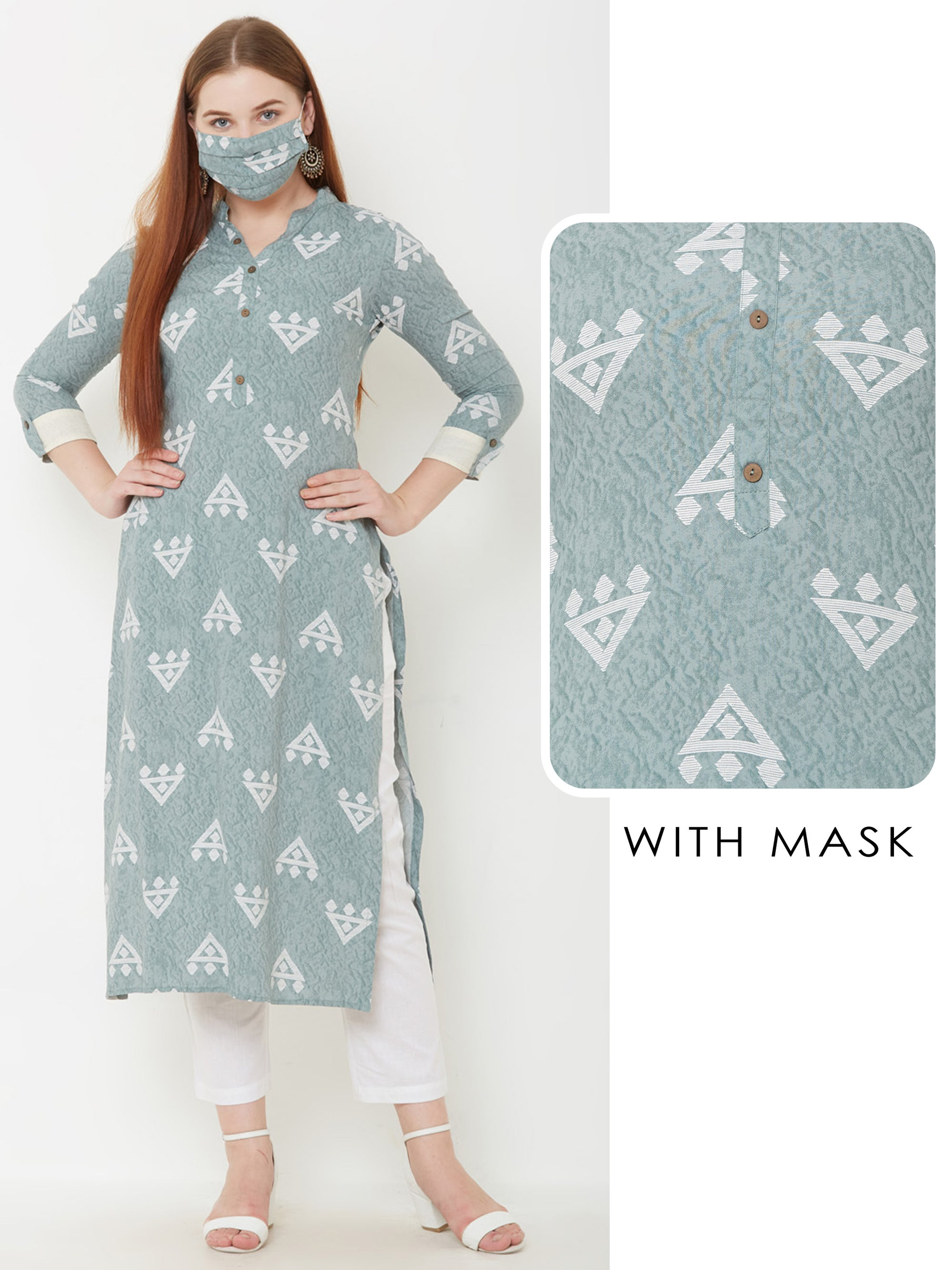 Abstract Arrow Printed Kurta with Matching Mask – Pale Green