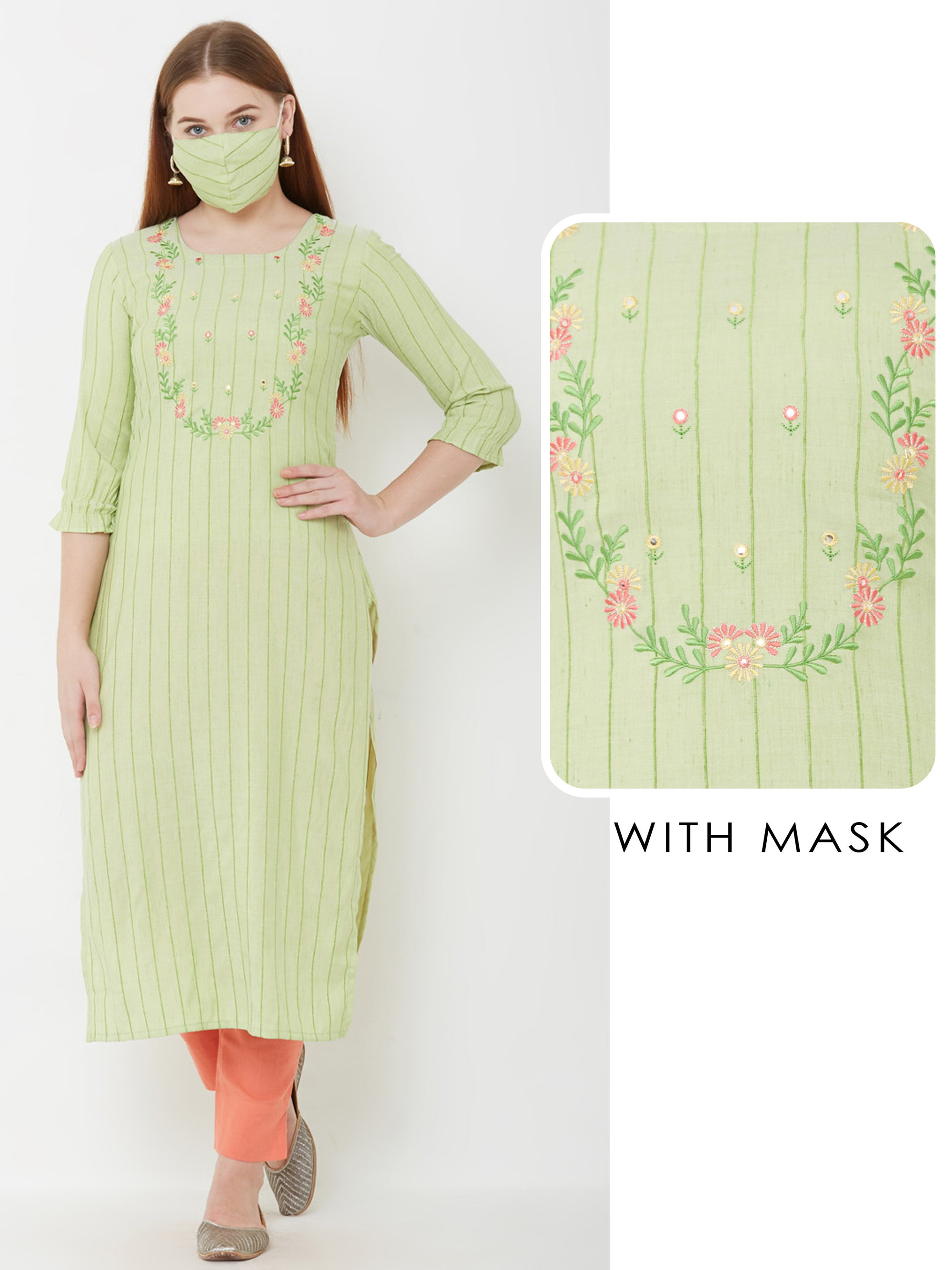Floral Embroidered & Pin Striped Kurta with Matching Mask – Green