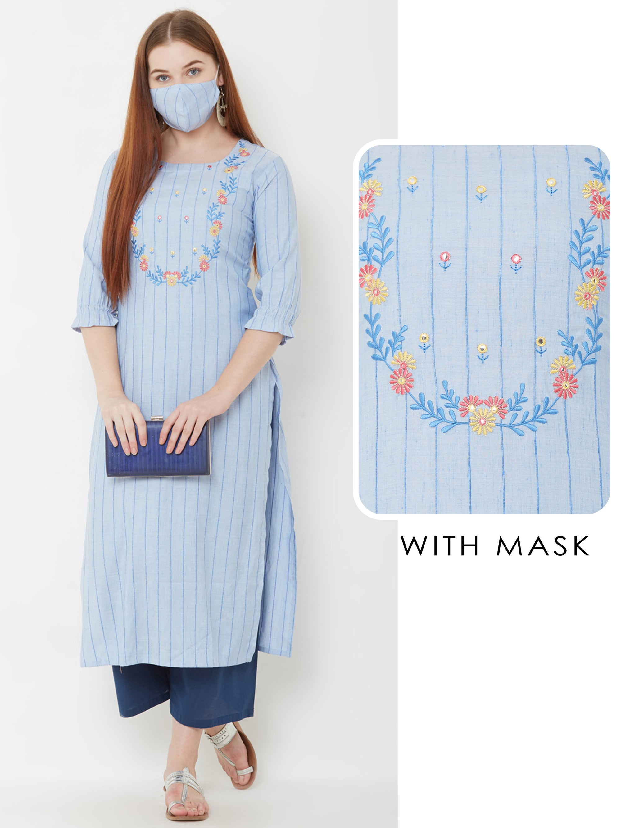 Floral Embroidered & Pin Striped Kurta with Matching Mask – Blue