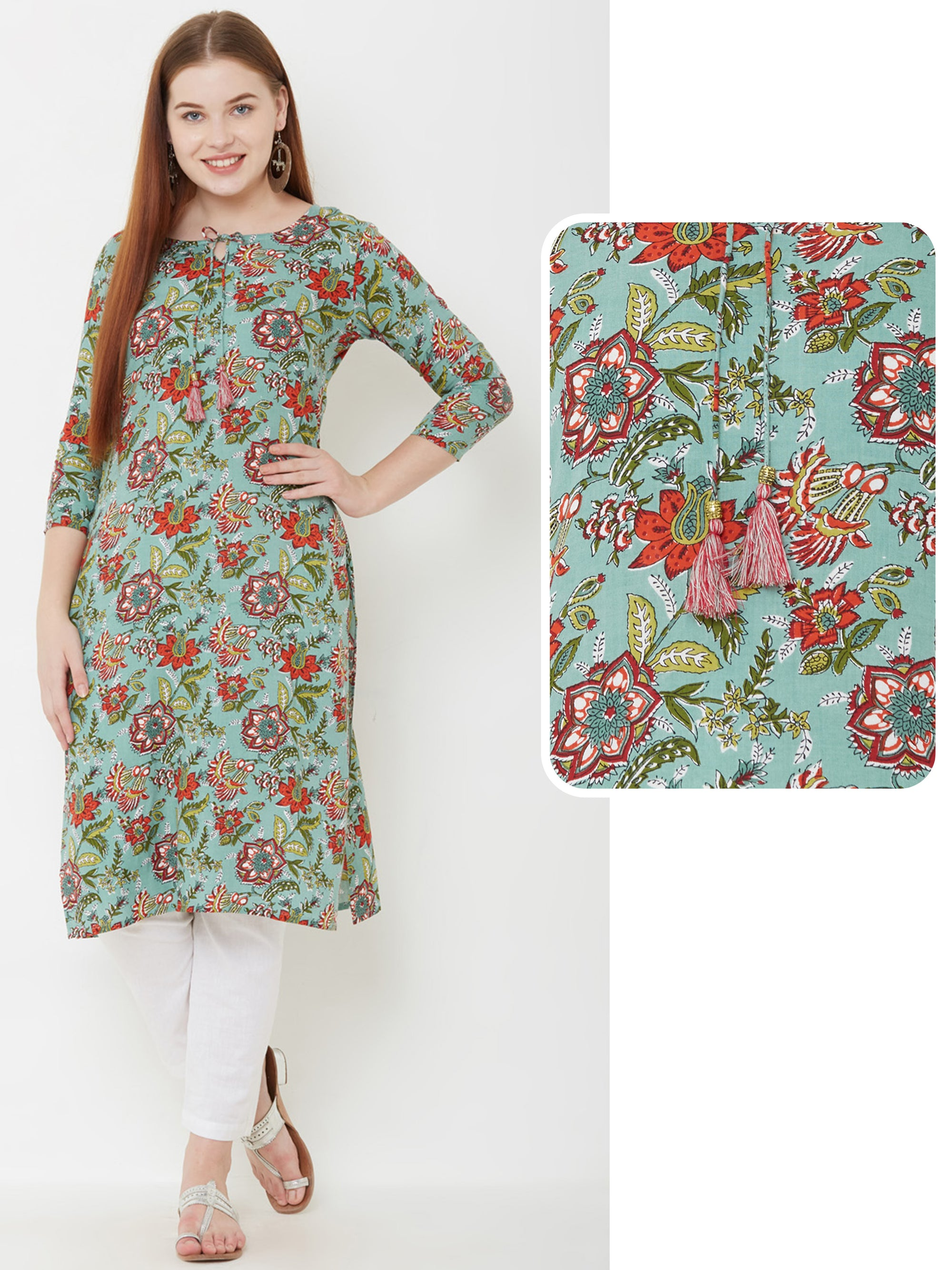 Floral Printed & Tie-Up Detailed Kurta – Green