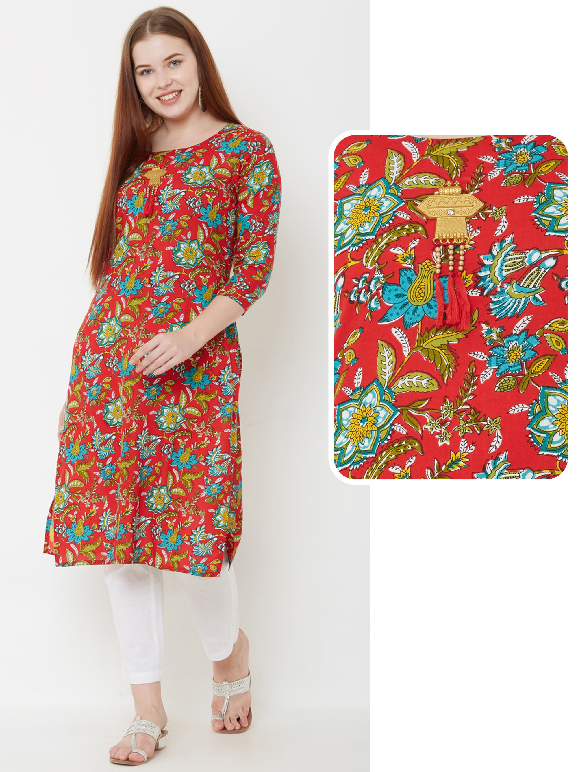 Floral Printed & Brooch Detailed Kurta – Rust