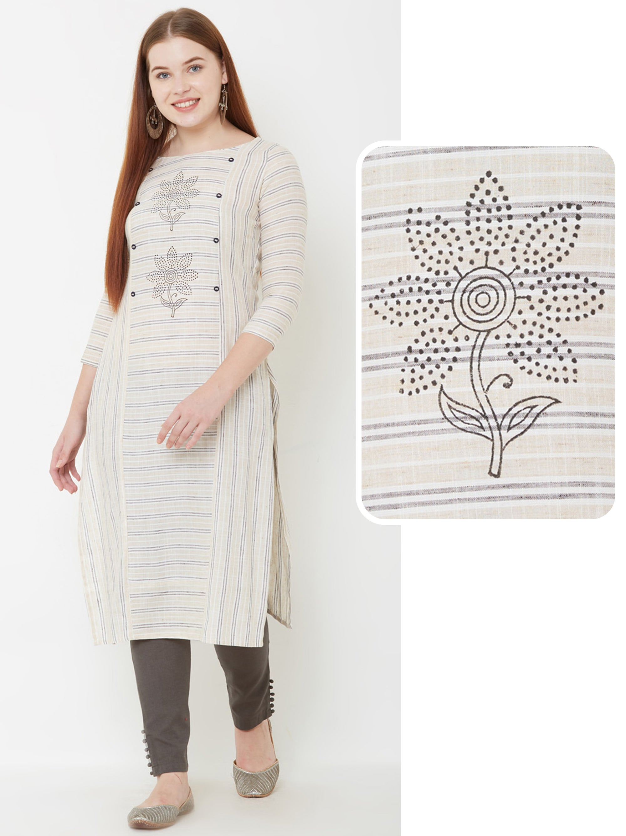 Bengal Striped & Floral Printed Kurta – Off-White