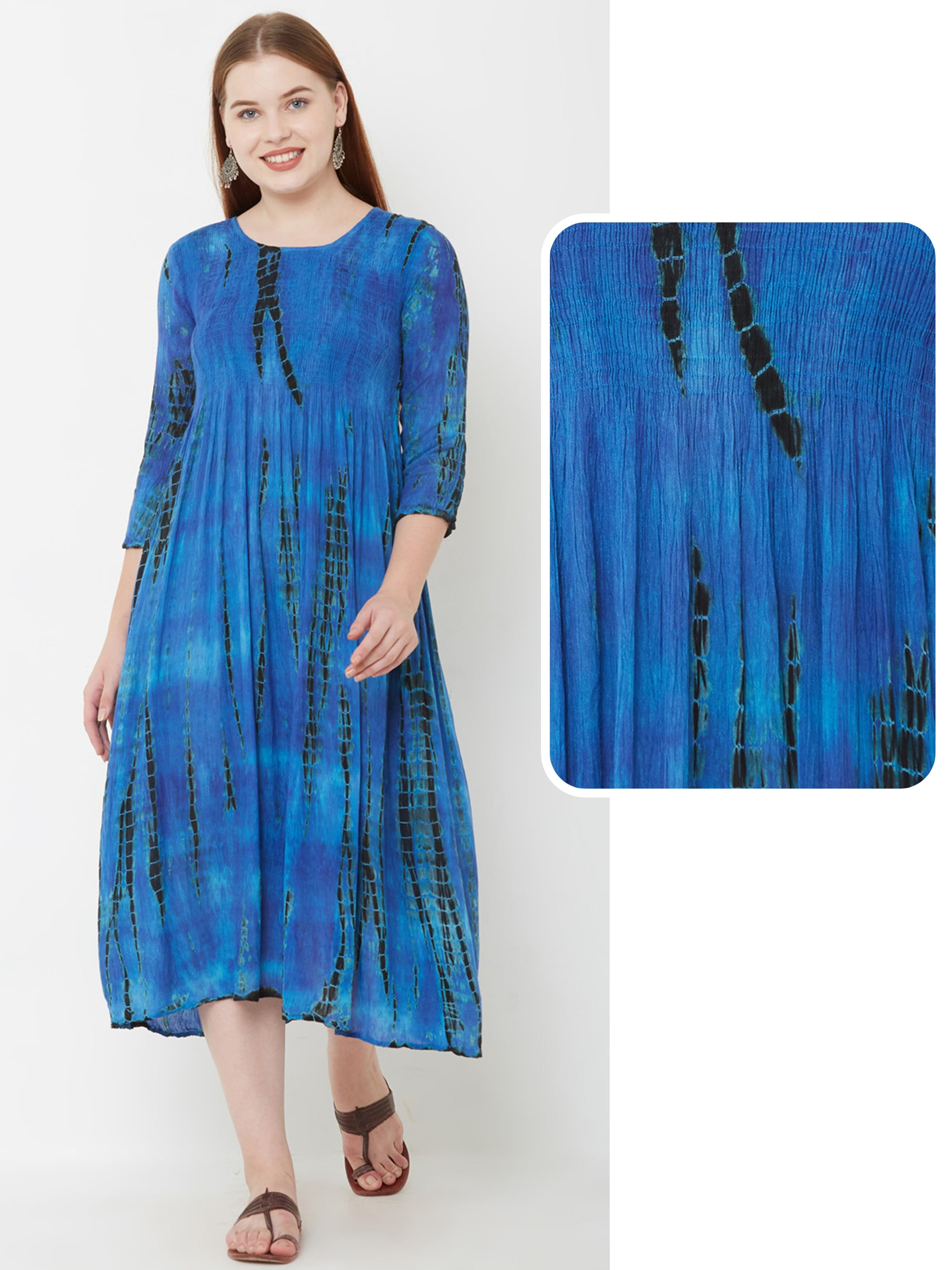 Shibori Printed & Smock Detailed Maxi – Royal Blue