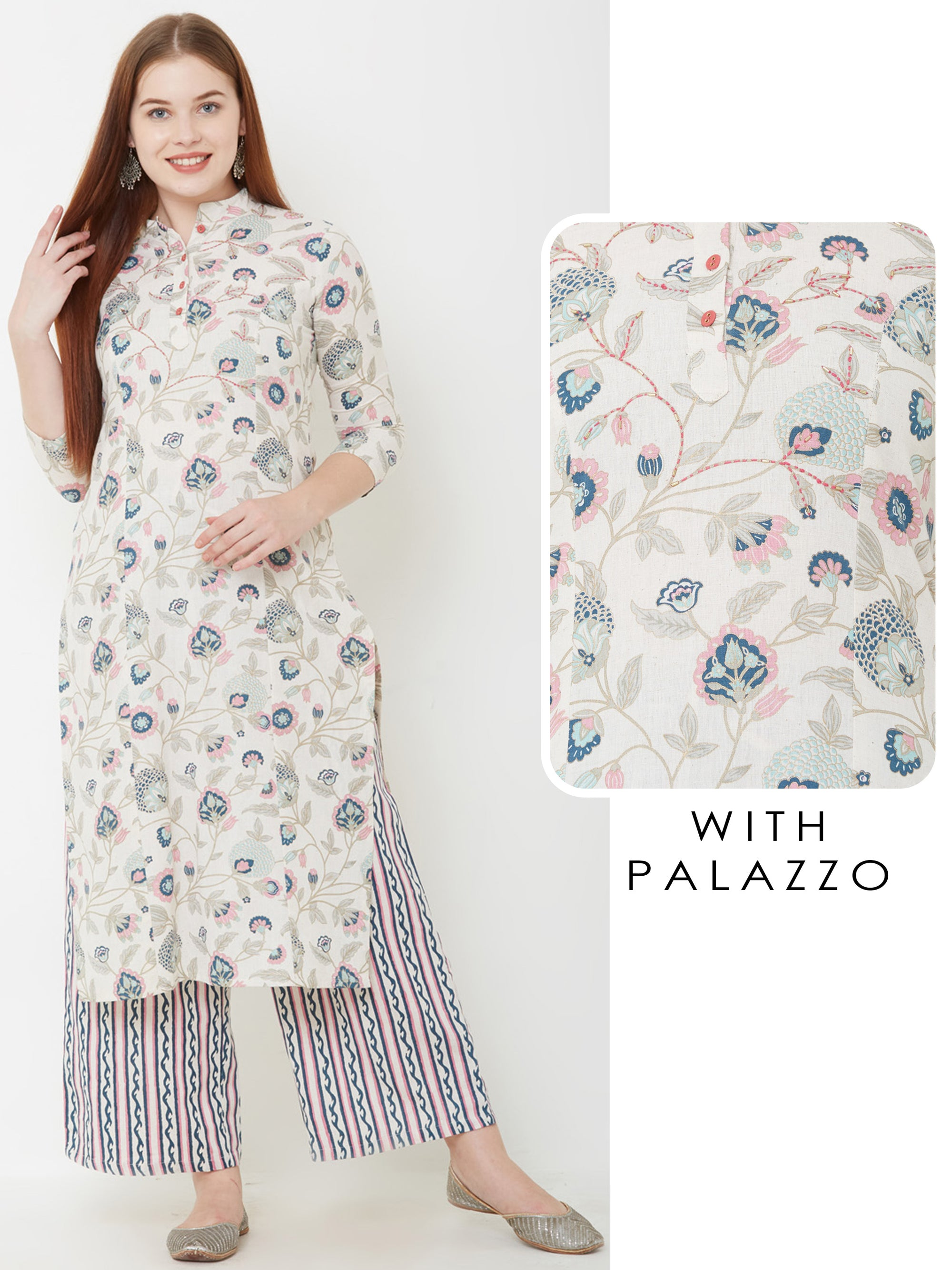 Floral printed Kurta & Vertical striped palazzo – Off-White