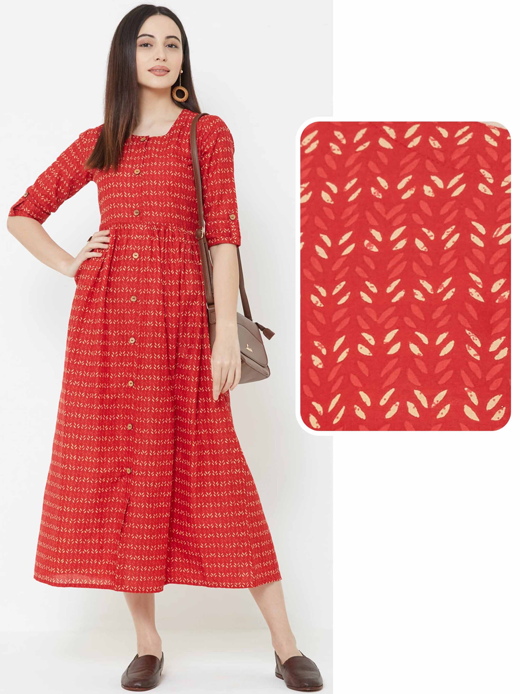 Minimal Leaf Printed & Pleated Maxi – Red