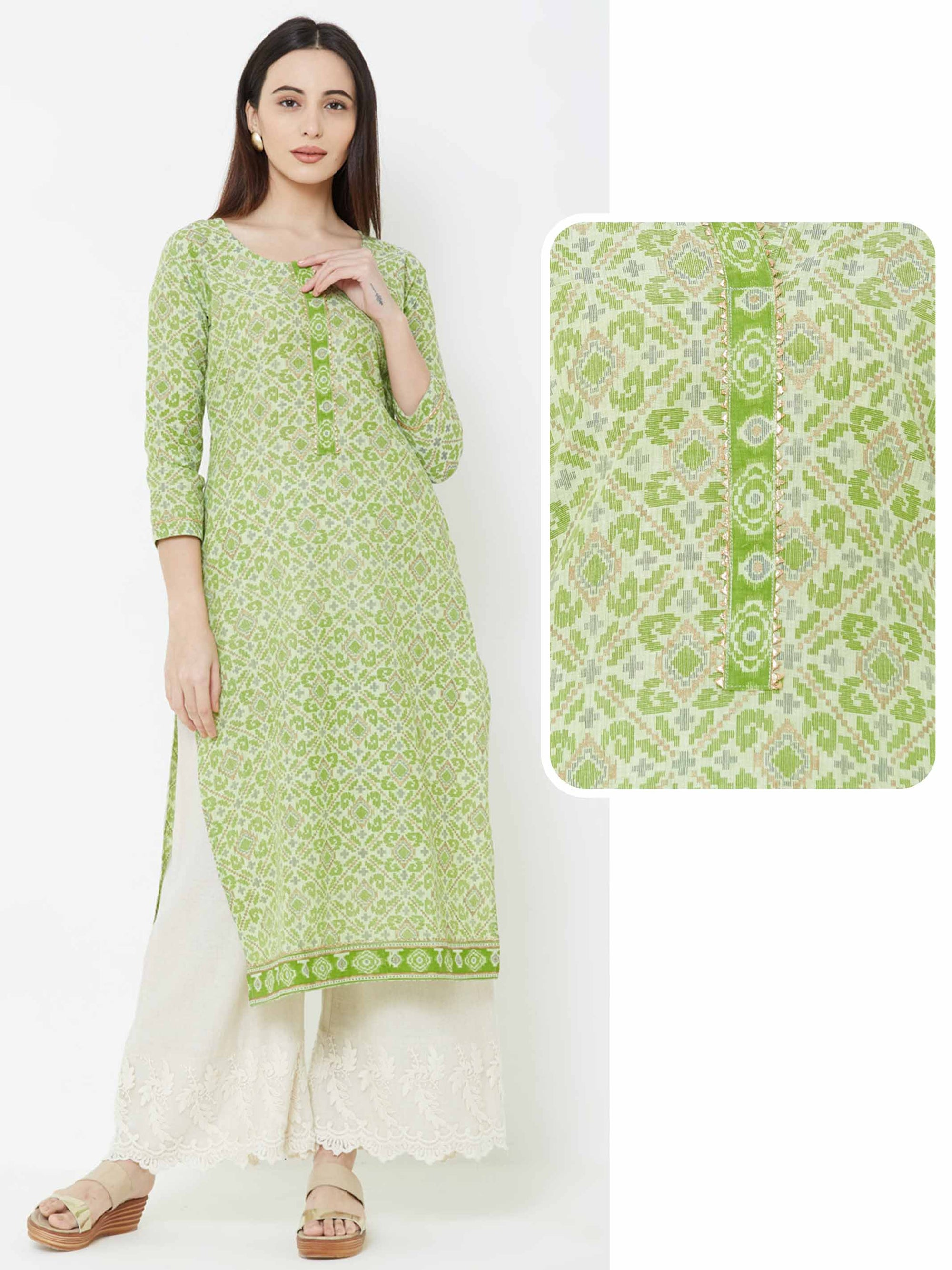 Patola Printed & Temple Gota Kurta – Lime Green
