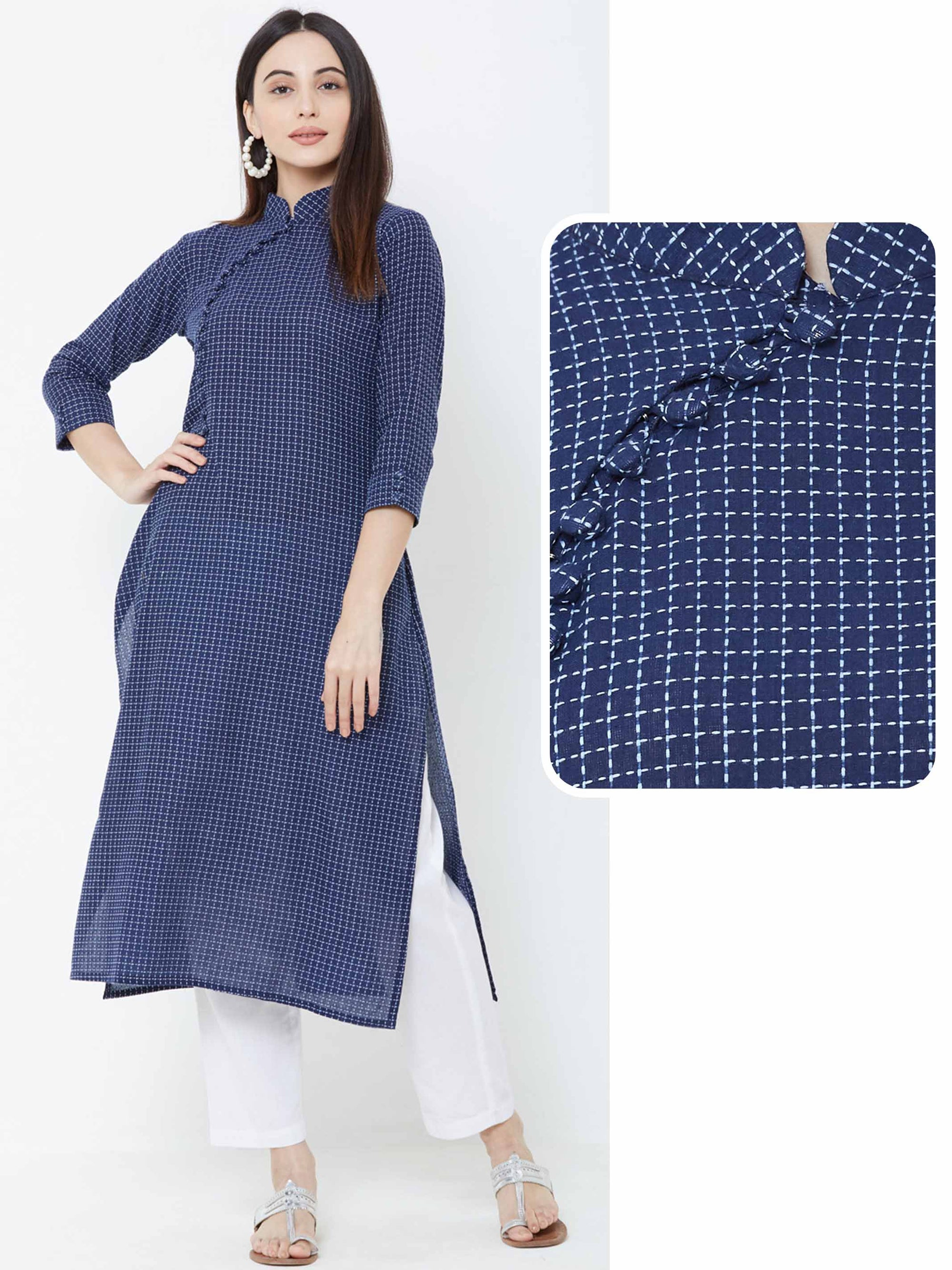 Chalk Checkered Cotton Kurta – Navy Blue