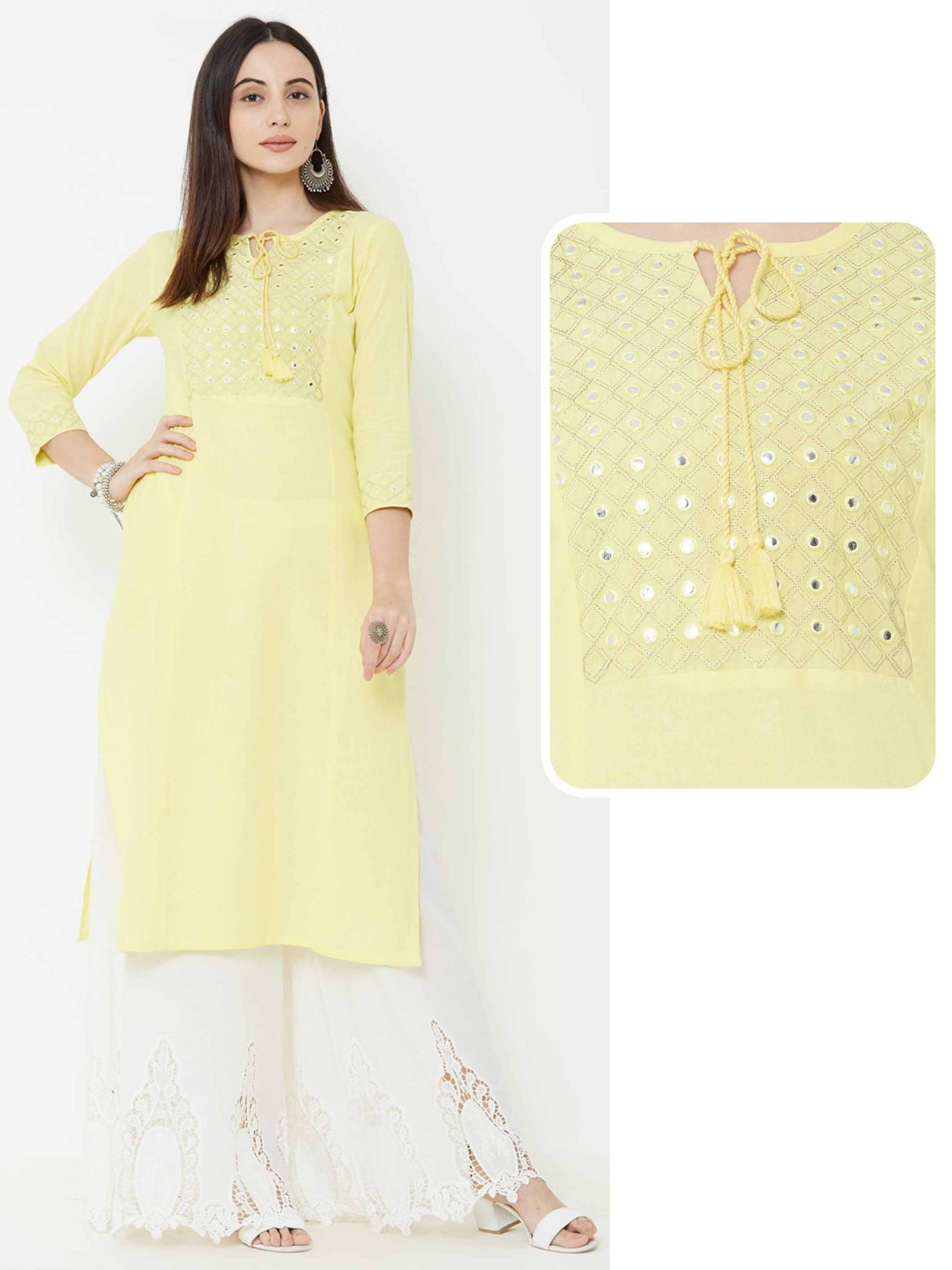 Foil Mirror & Diamond Checks Embroidered Kurta – Yellow