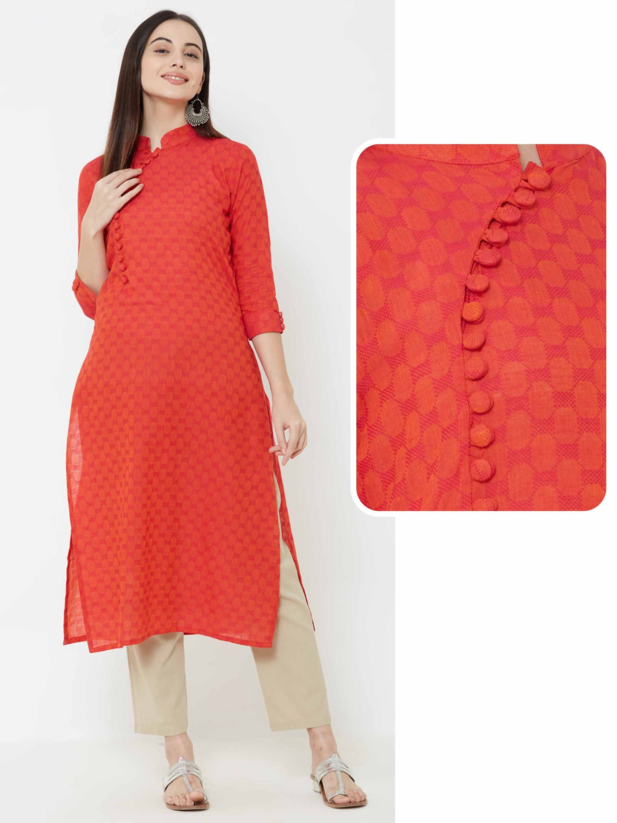 Self printed Cotton Kurta – Red