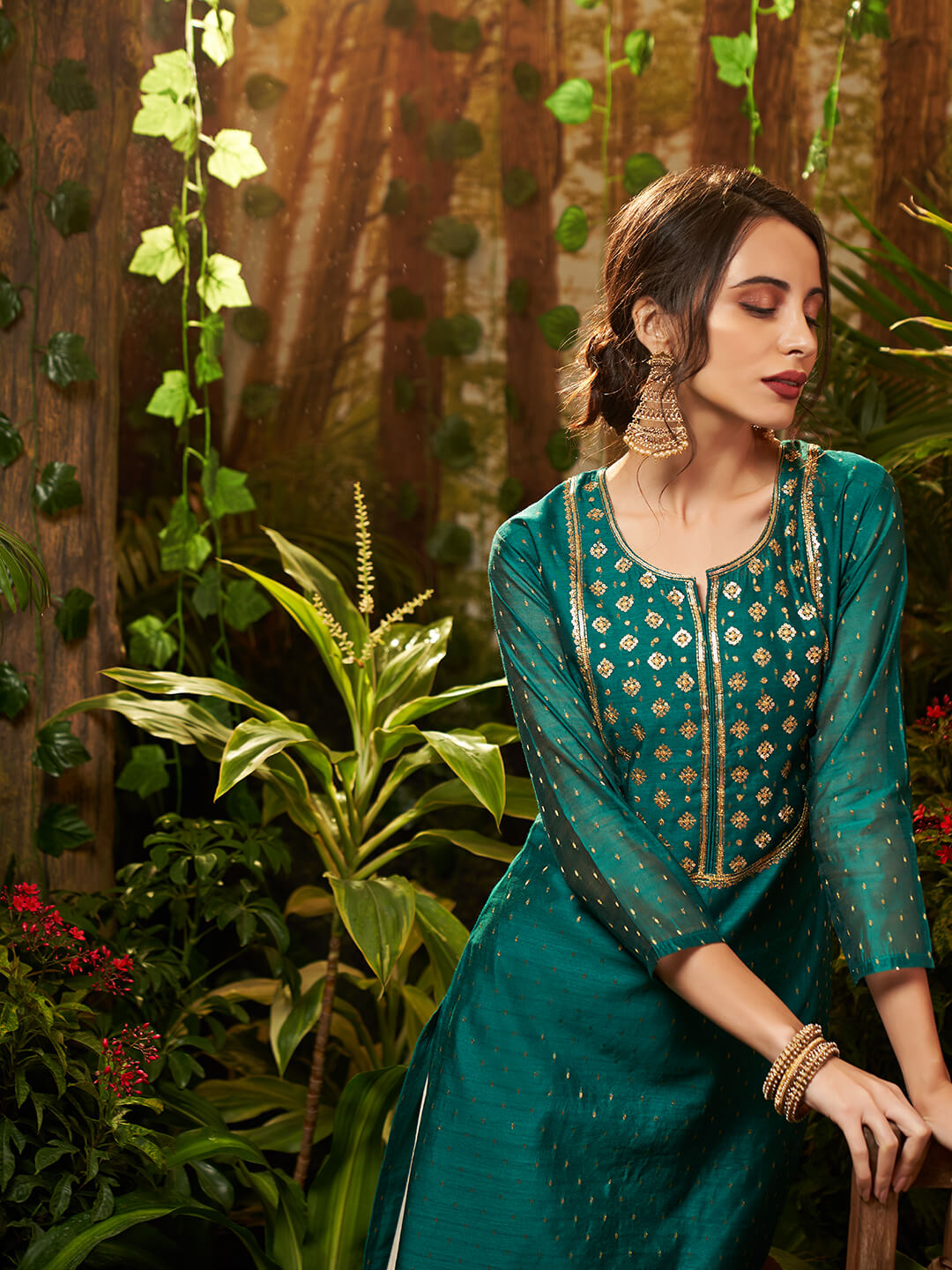 Sequins Embellished Chanderi Kurta – Teal Green