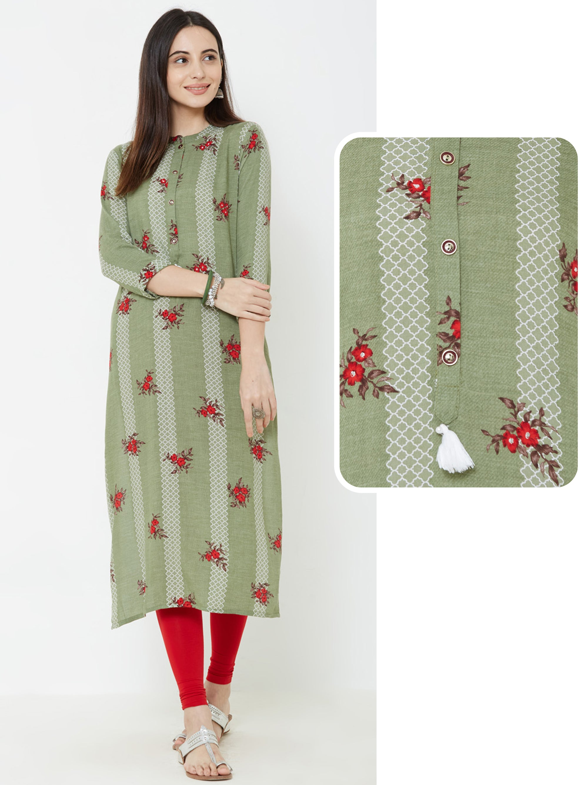 Contrast Floral Prints over Moroccan Printed Stripe Kurta – Green