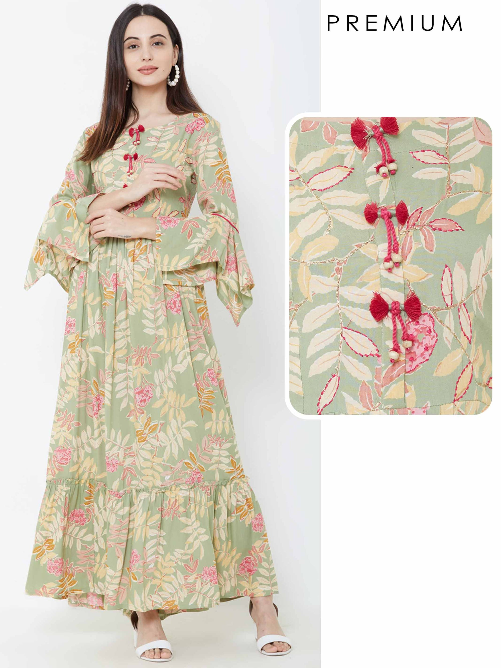 Autumn Leaf Printed & Tassel Detailed Maxi – Green