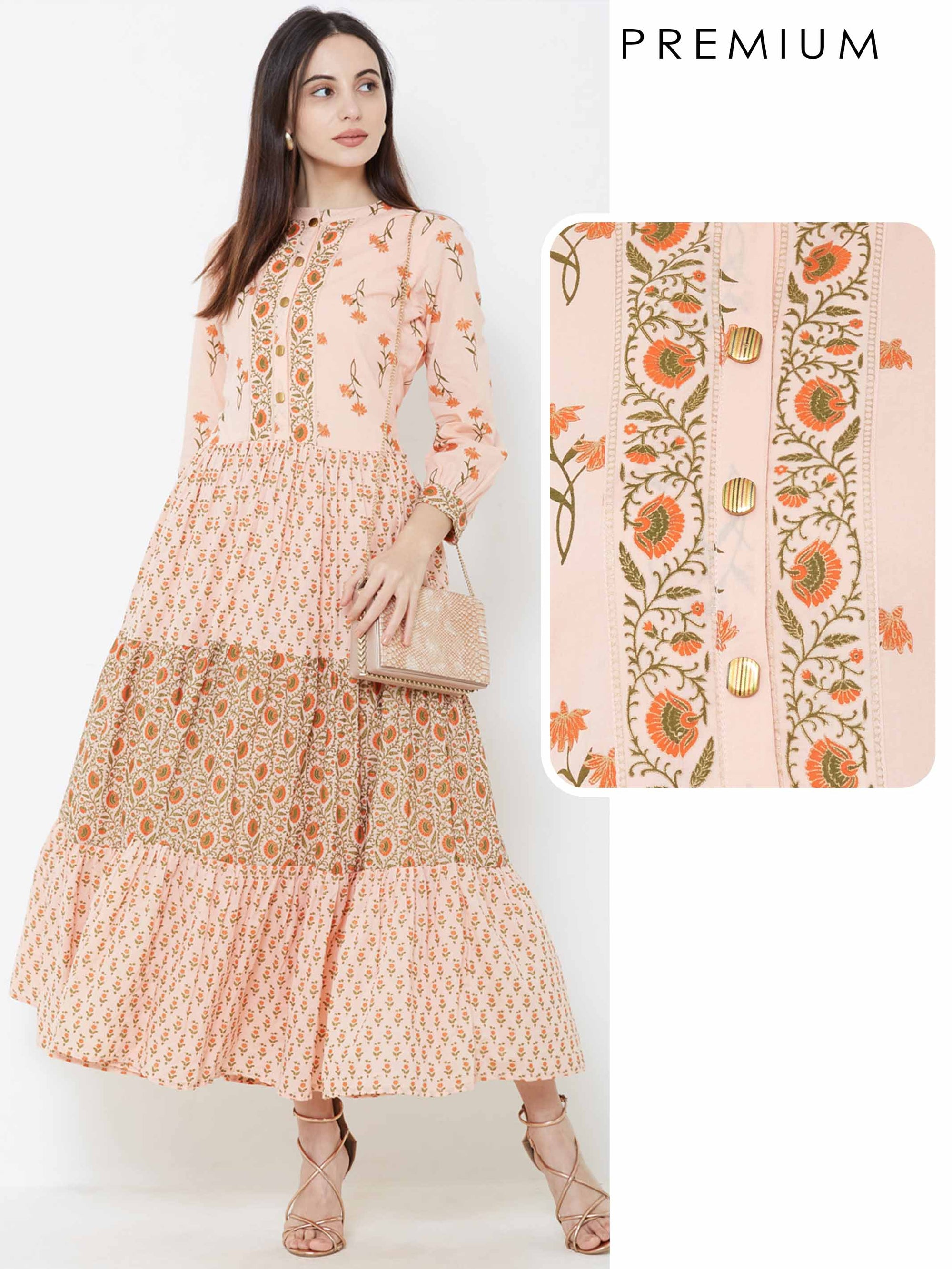 Mixed Floral Printed Tiered Maxi – Peach