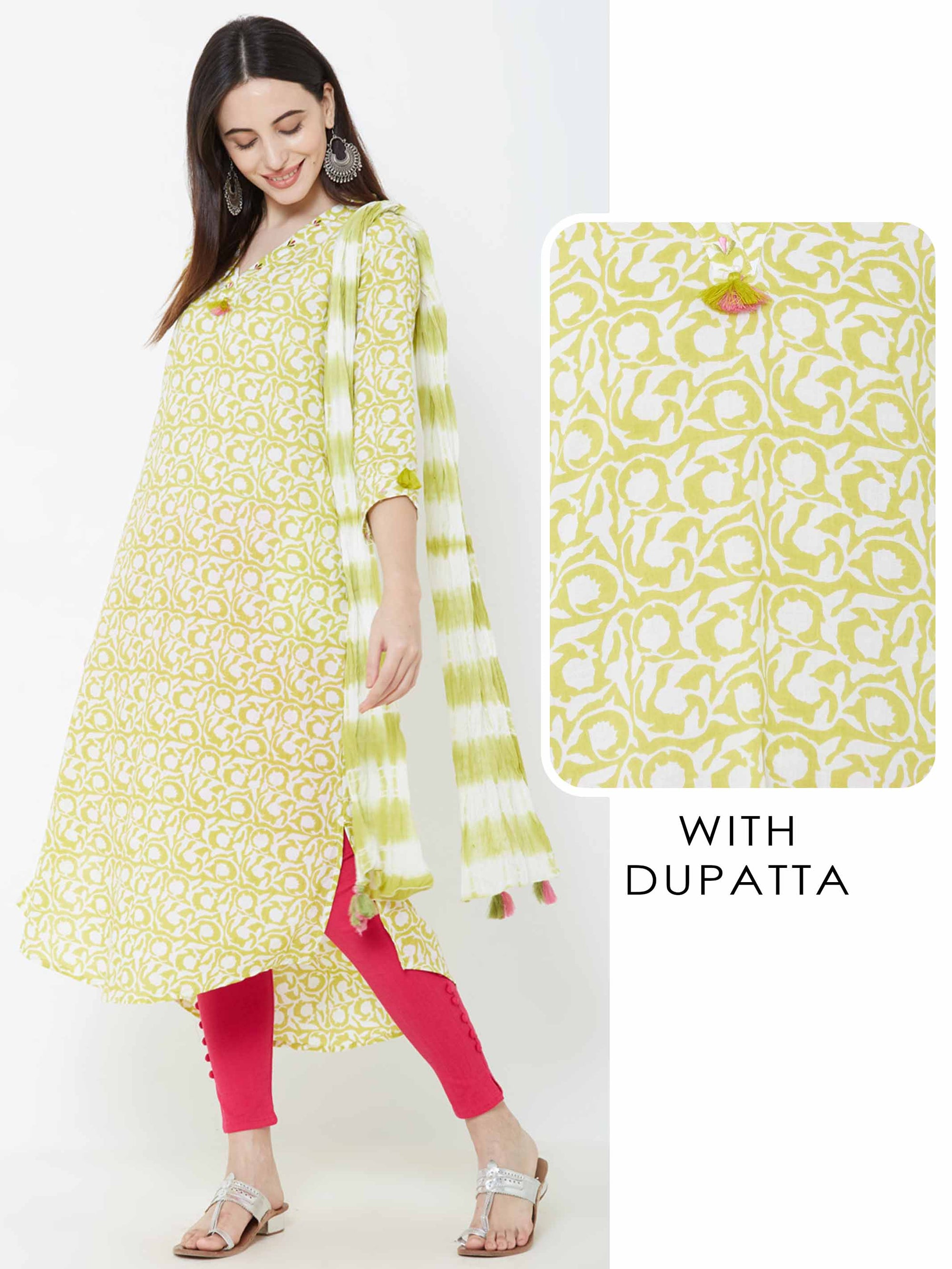 Ditsy Floral Printed Tassel Kurta with Tie & Dyed Dupatta – Green