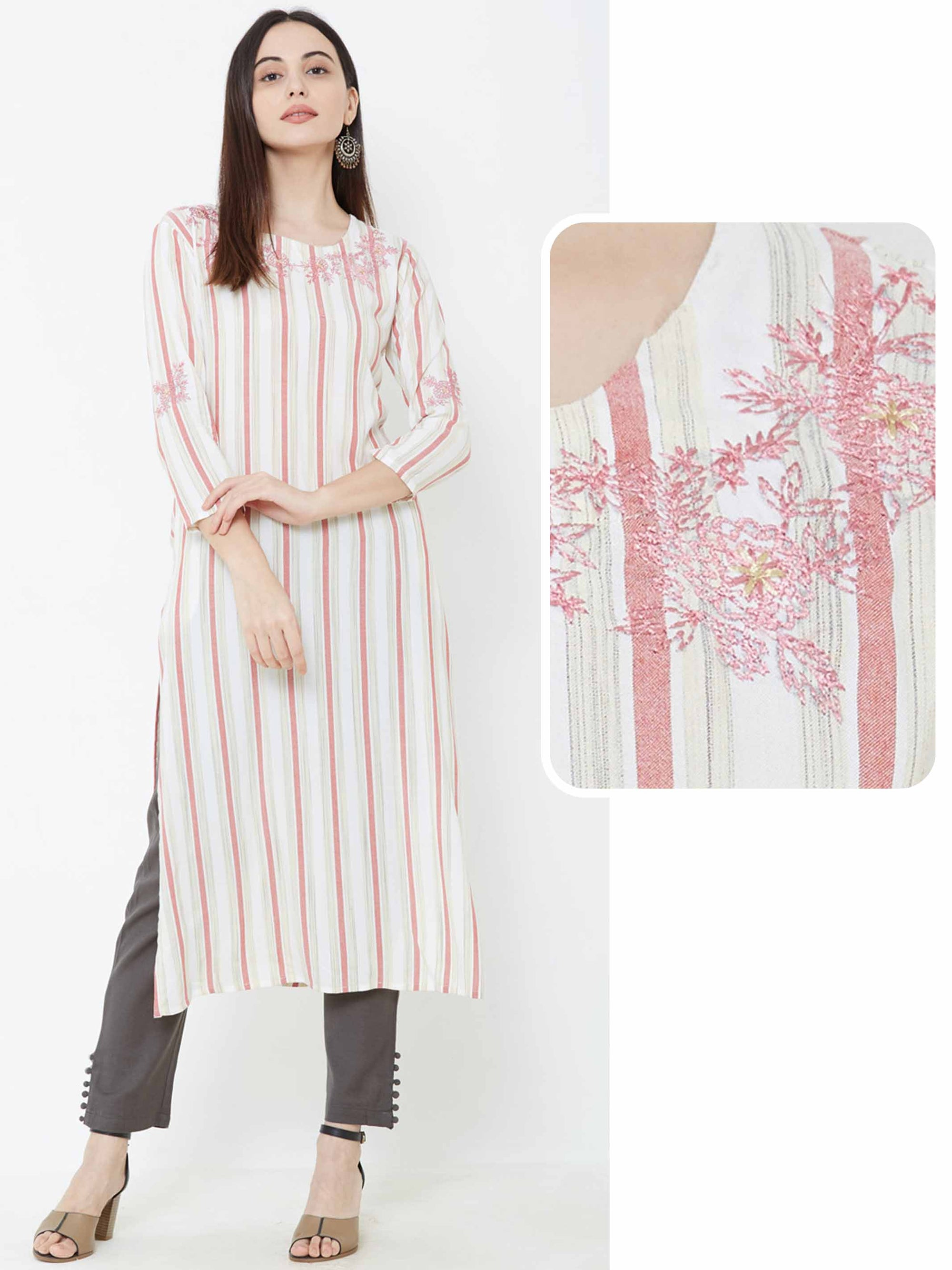 Bengal Striped & Floral Embroidered Kurta – Peach
