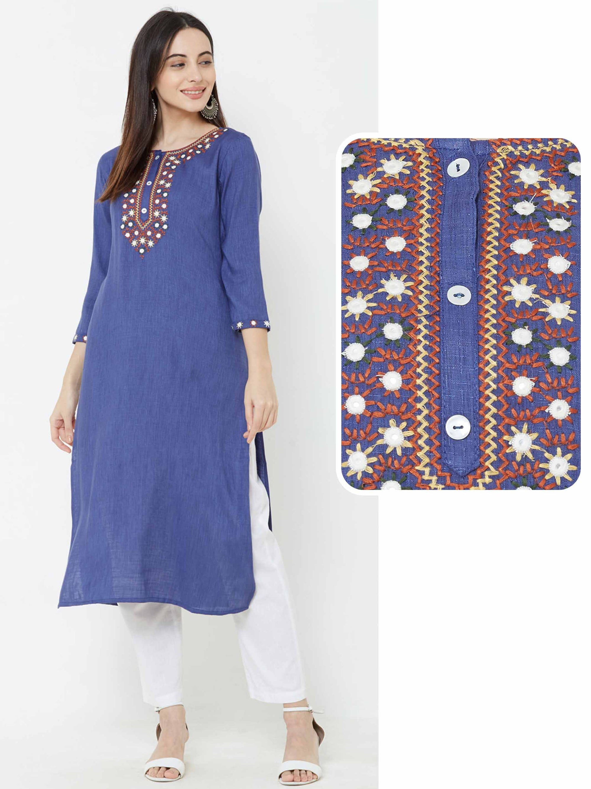 Minimal Mirror & Floral Embroidered Kurta – Blue
