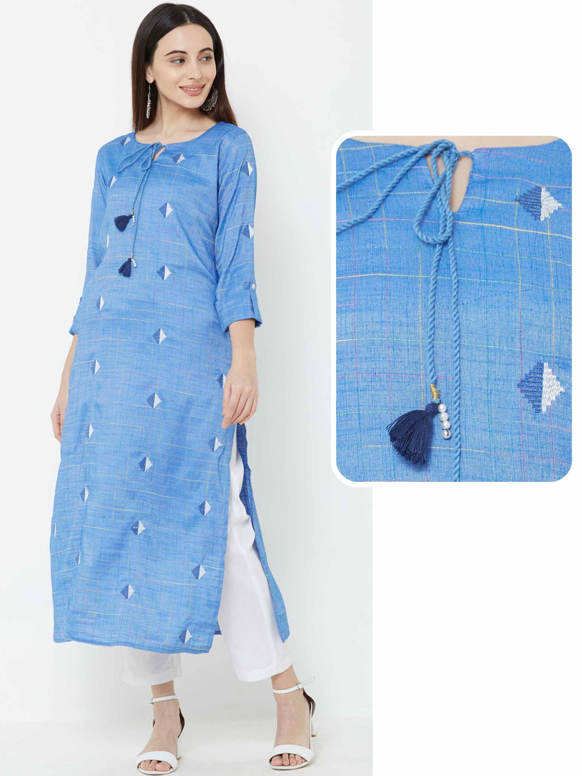 Diamond Buta Embroidered Kurta – Blue